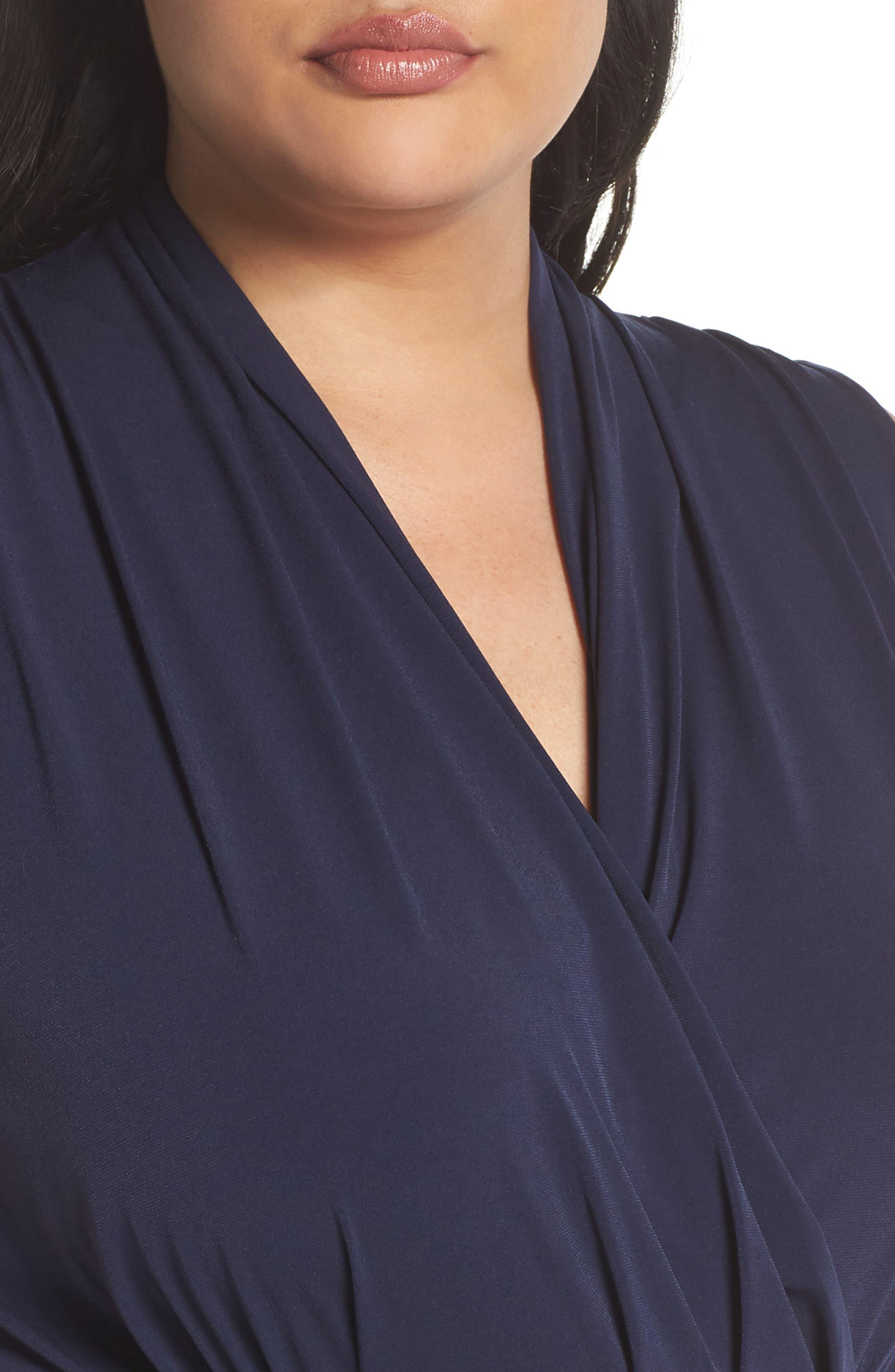 Slit Faux Wrap Maxi Dress,                             Alternate thumbnail 4, color,                             True Navy