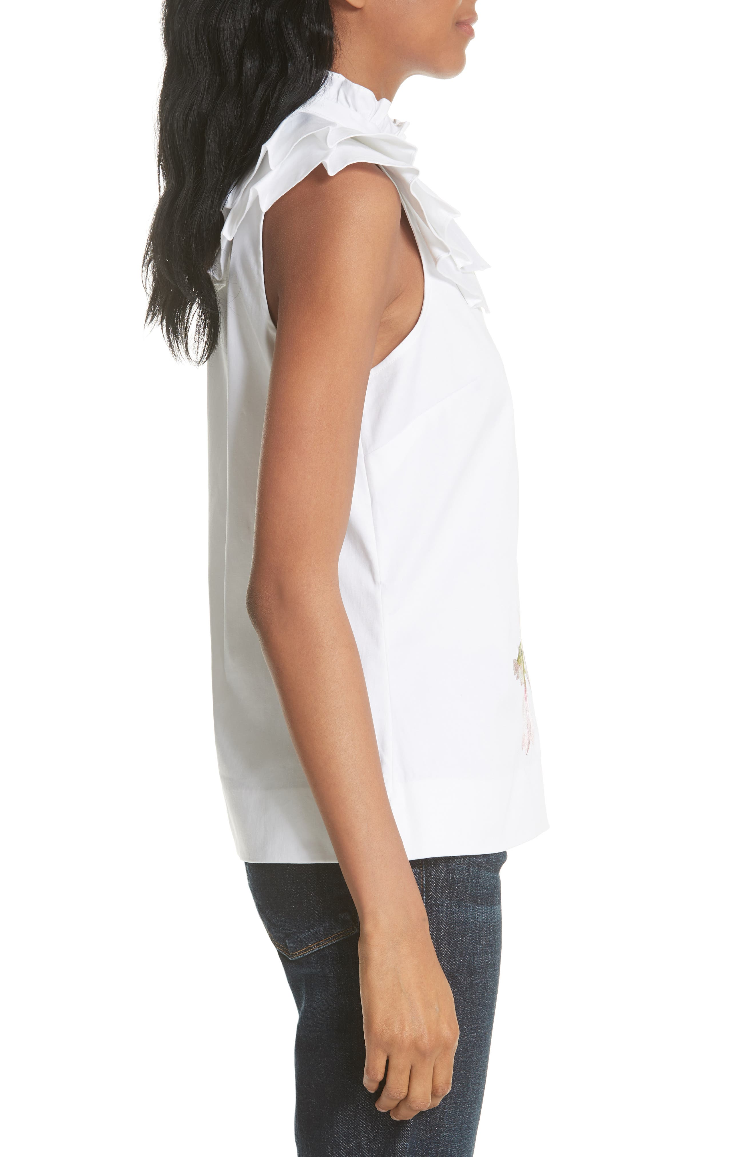 Harmony Ruffle Neck Top,                             Alternate thumbnail 3, color,                             White