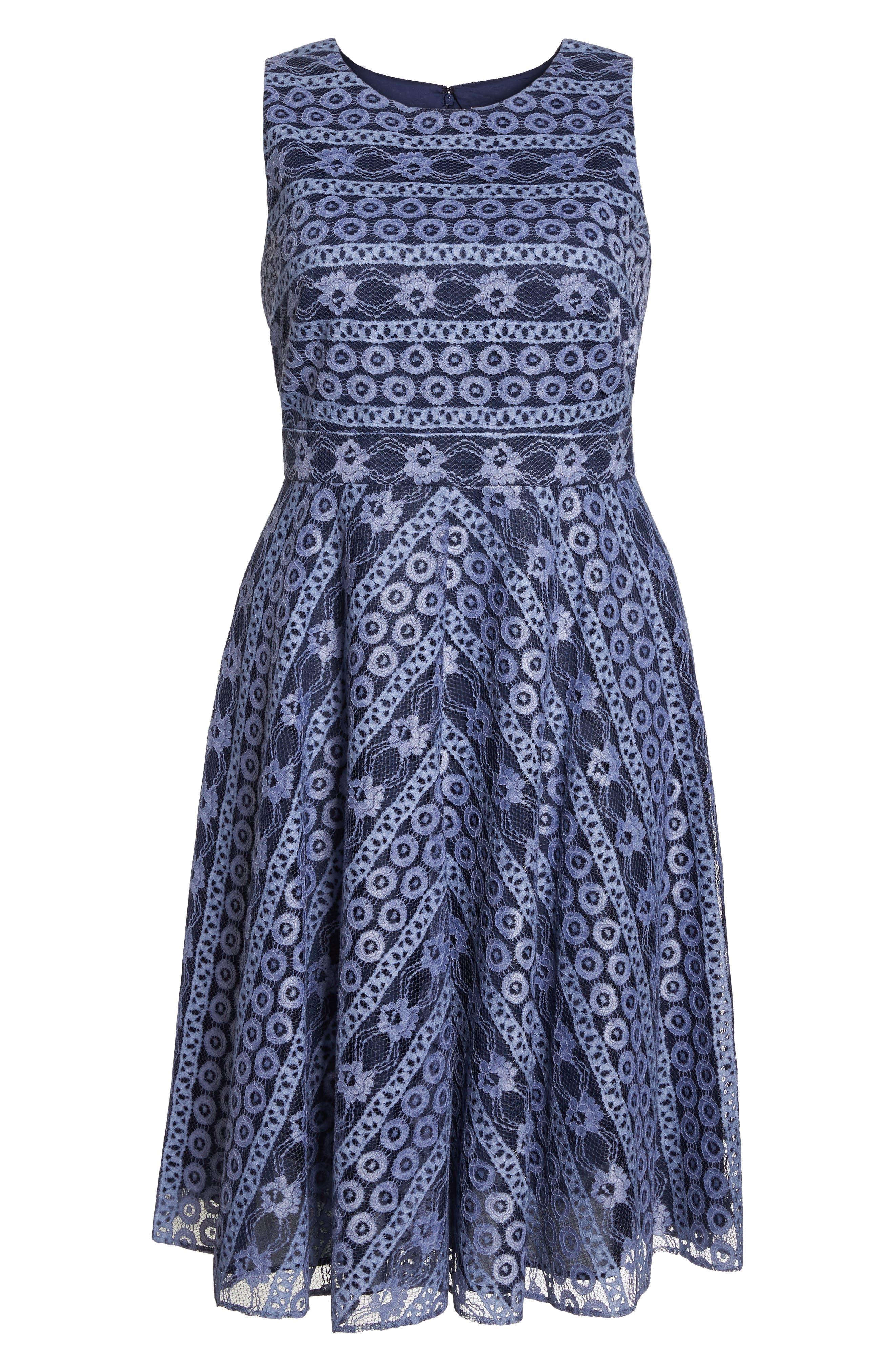 Stripe Lace A-Line Dress,                             Alternate thumbnail 7, color,                             Navy