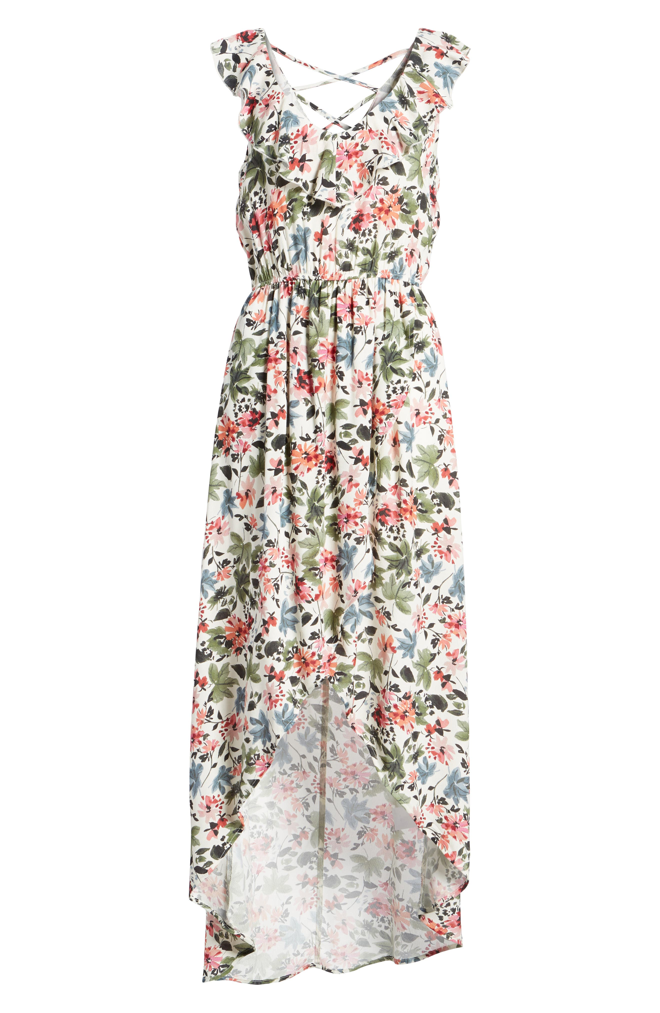 Ruffle High/Low Maxi Dress,                             Alternate thumbnail 7, color,                             Ivory/ Sage