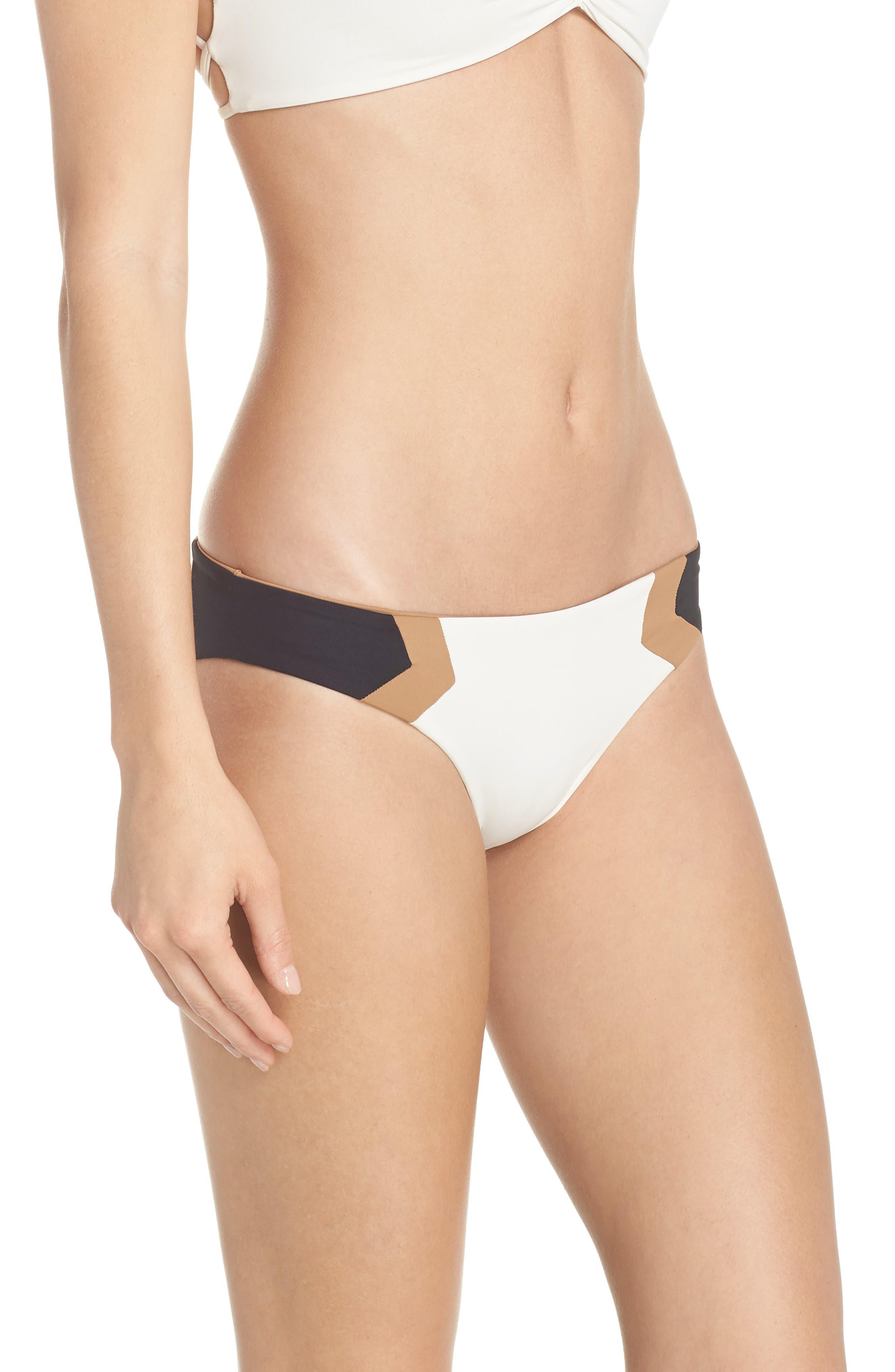 Baracuda Reversible Classic Hipster Bikini Bottoms,                             Alternate thumbnail 5, color,                             Cream/ Black/ Camel