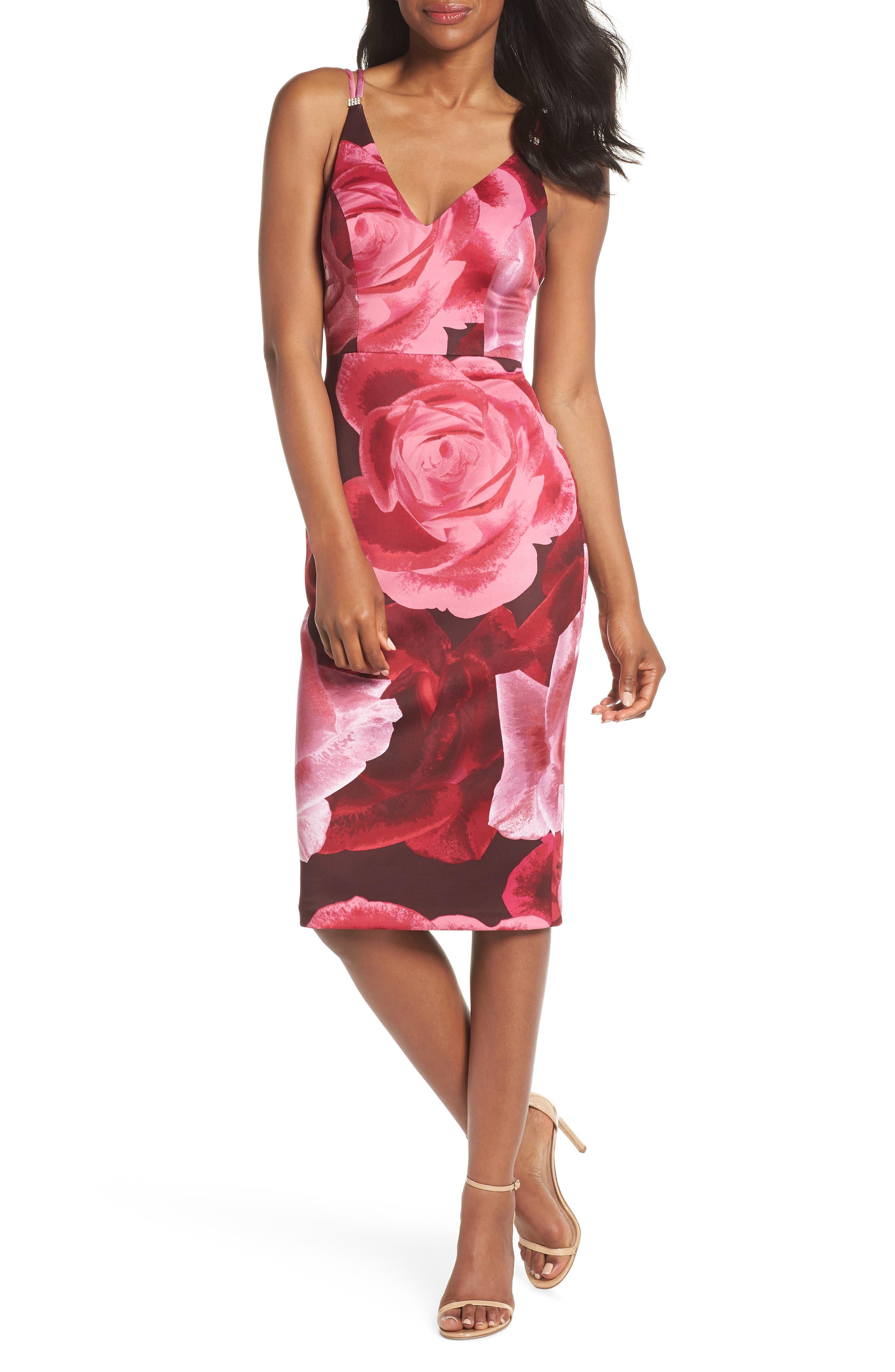 Floral Print Scuba Crepe Dress,                         Main,                         color, Magenta
