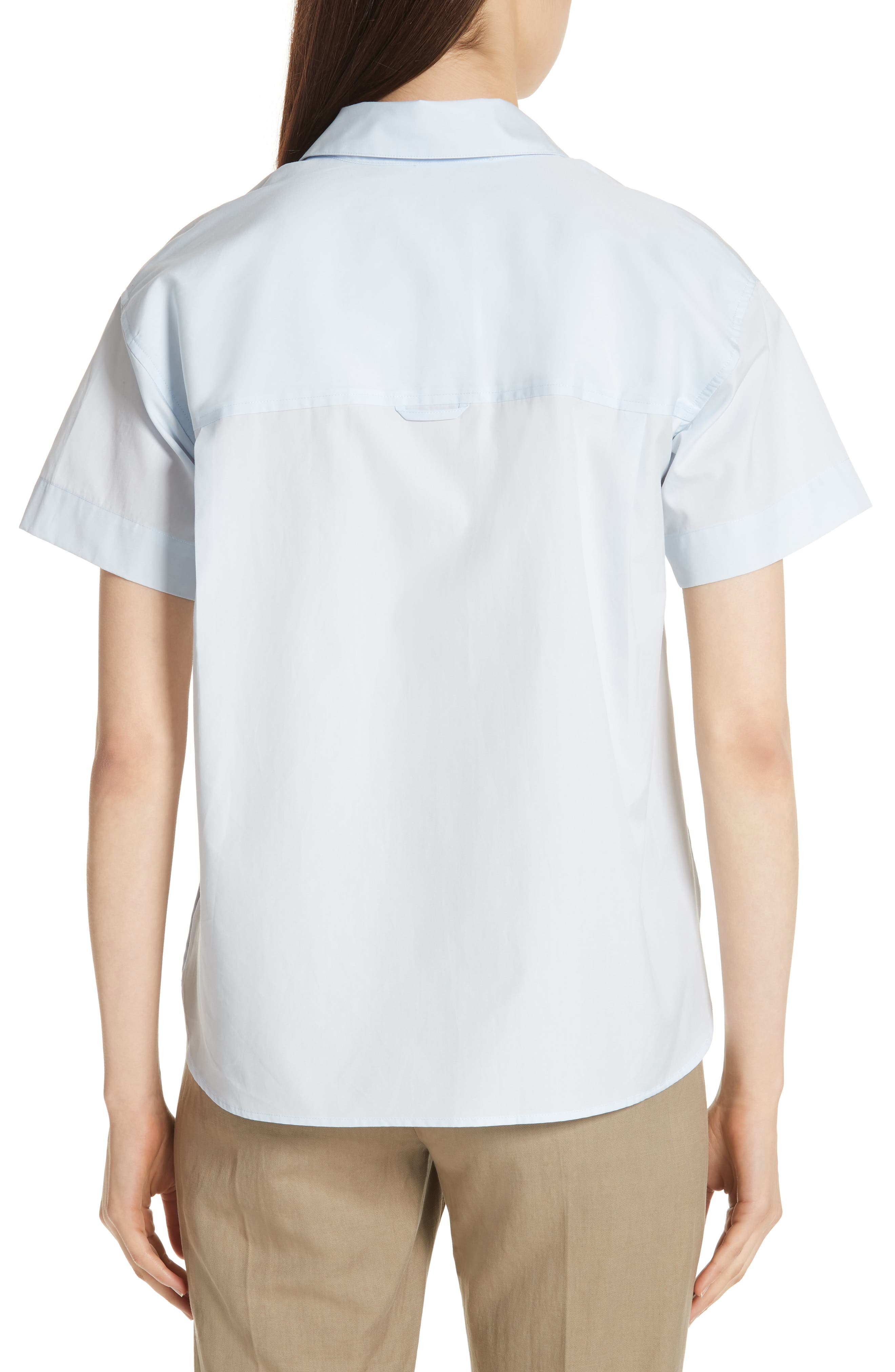 Short Sleeve Cotton Shirt,                             Alternate thumbnail 2, color,                             Powder Blue