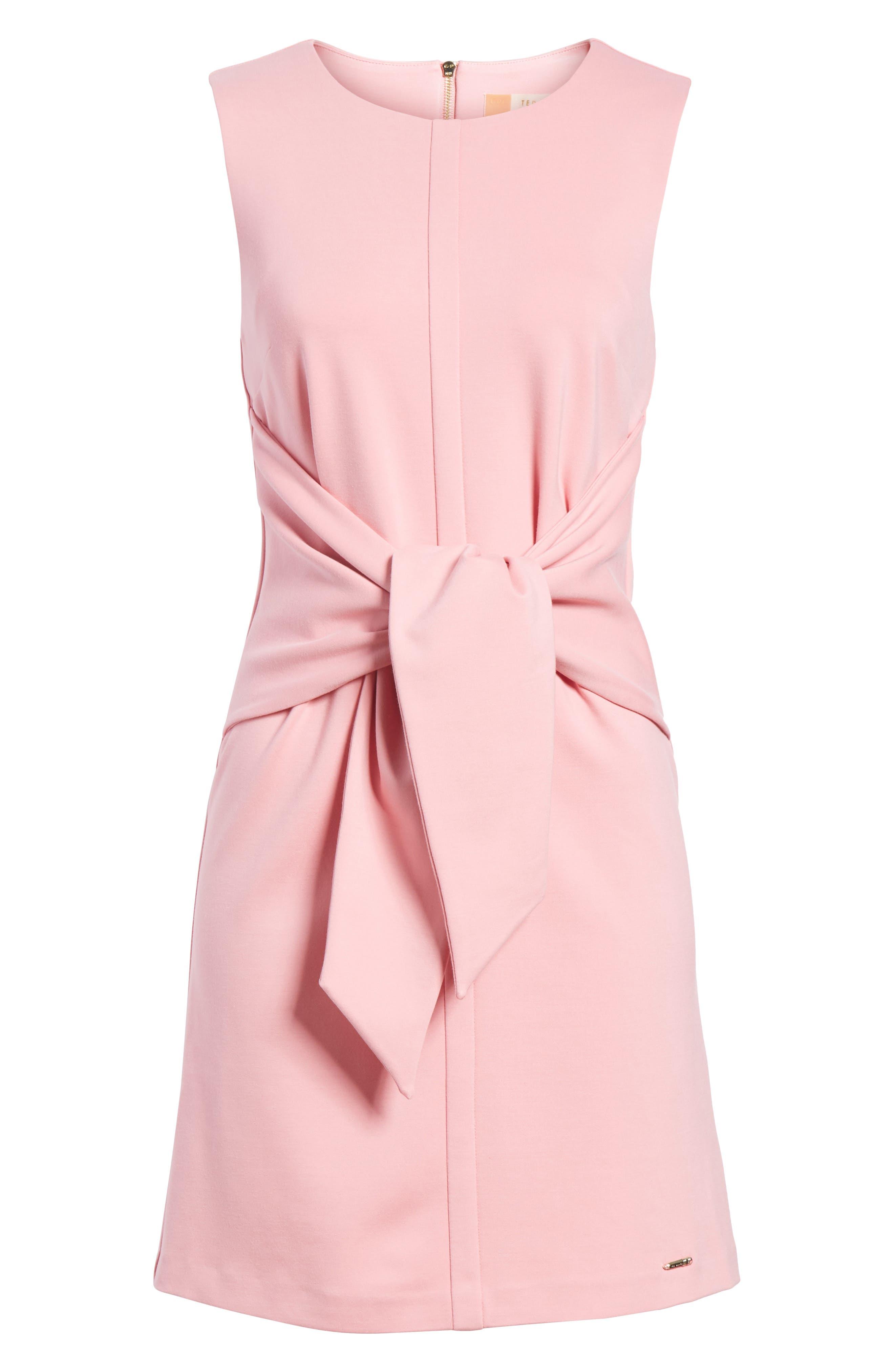 Papron Tie Front Dress,                             Alternate thumbnail 6, color,                             Pink