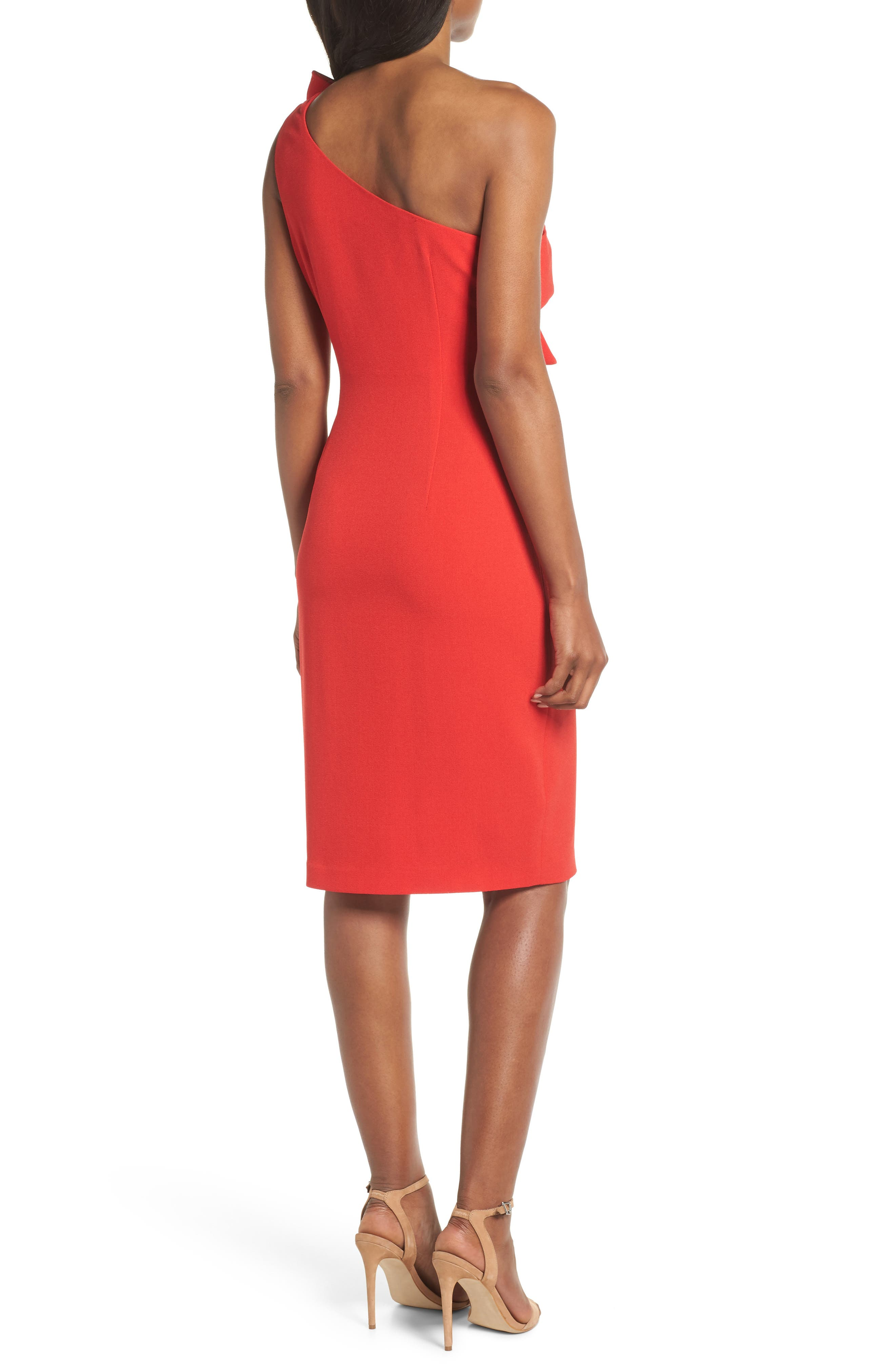 One-Shoulder Twist Front Sheath Dress,                             Alternate thumbnail 2, color,                             Red