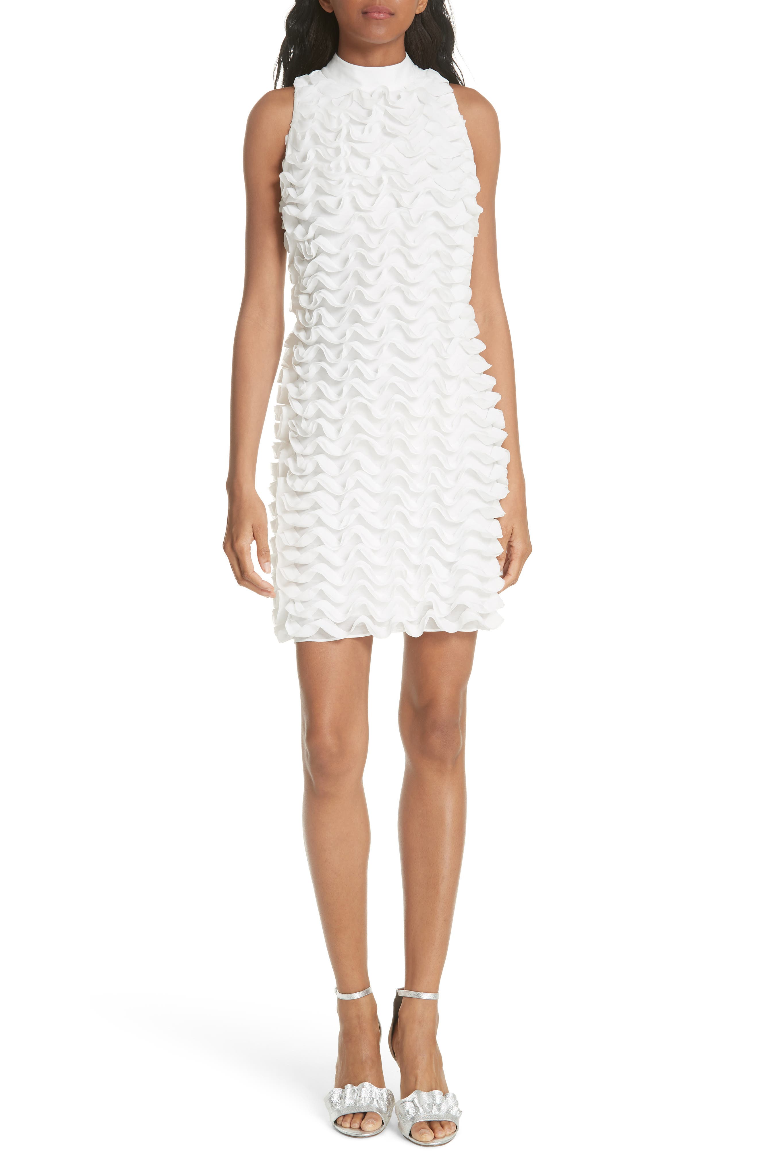 Ruffled Tunic Dress,                             Main thumbnail 1, color,                             White