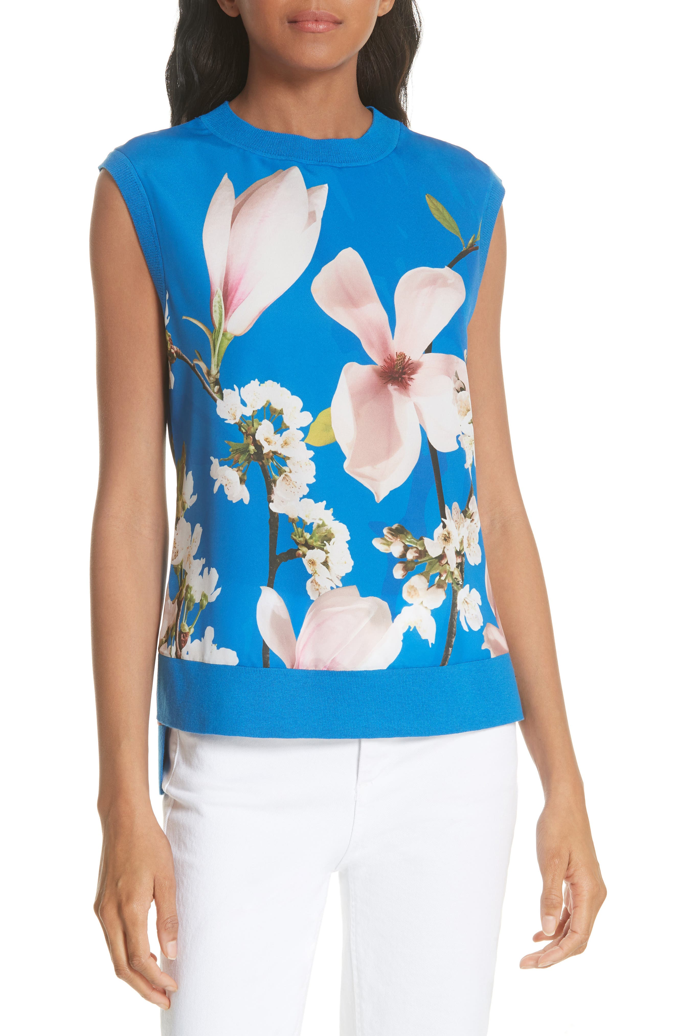 Harmony Floral Mix Media Sleeveless Sweater,                             Main thumbnail 1, color,                             Bright Blue