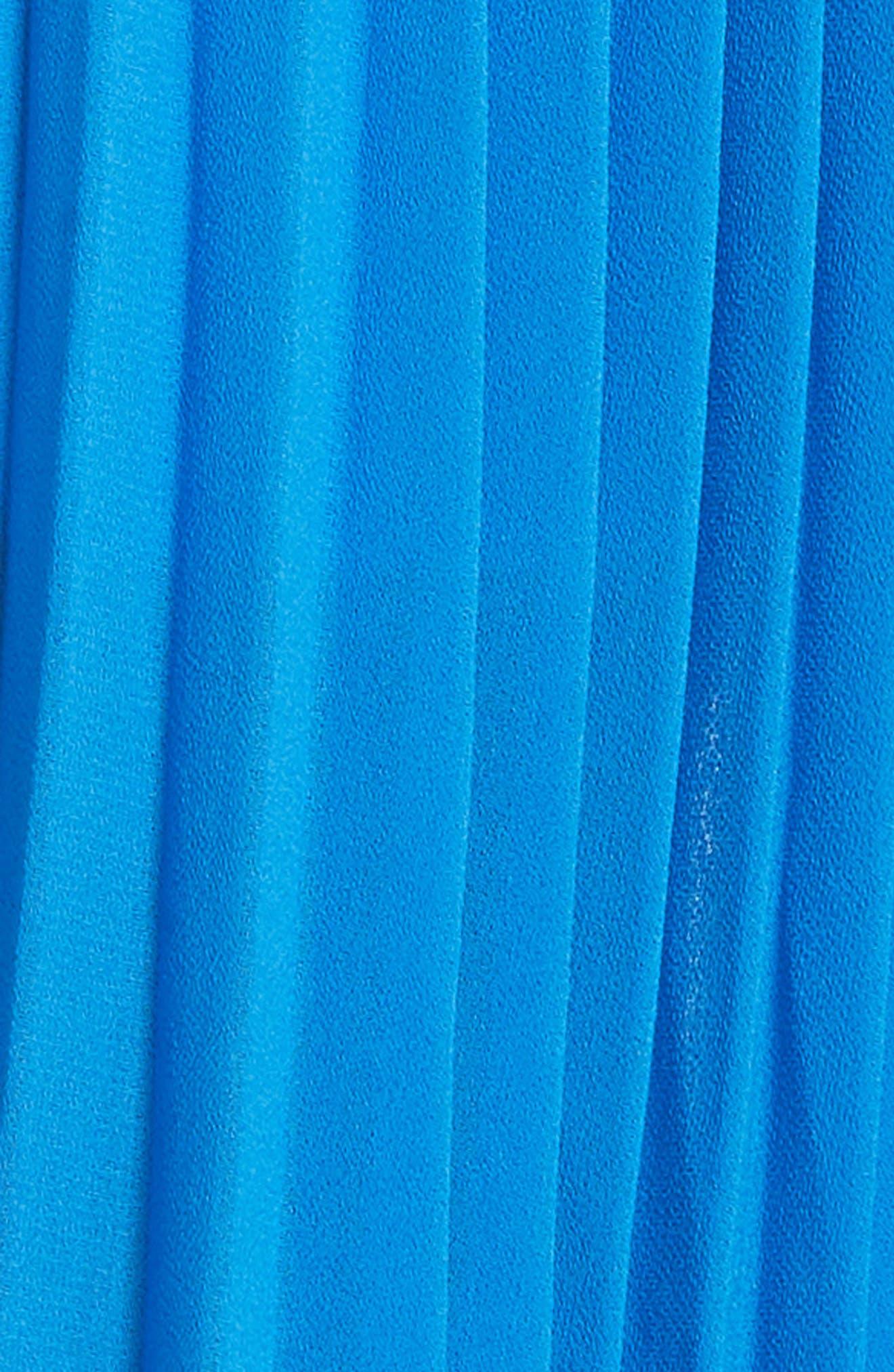 Harmony Pleat High/Low Dress,                             Alternate thumbnail 5, color,                             Bright Blue