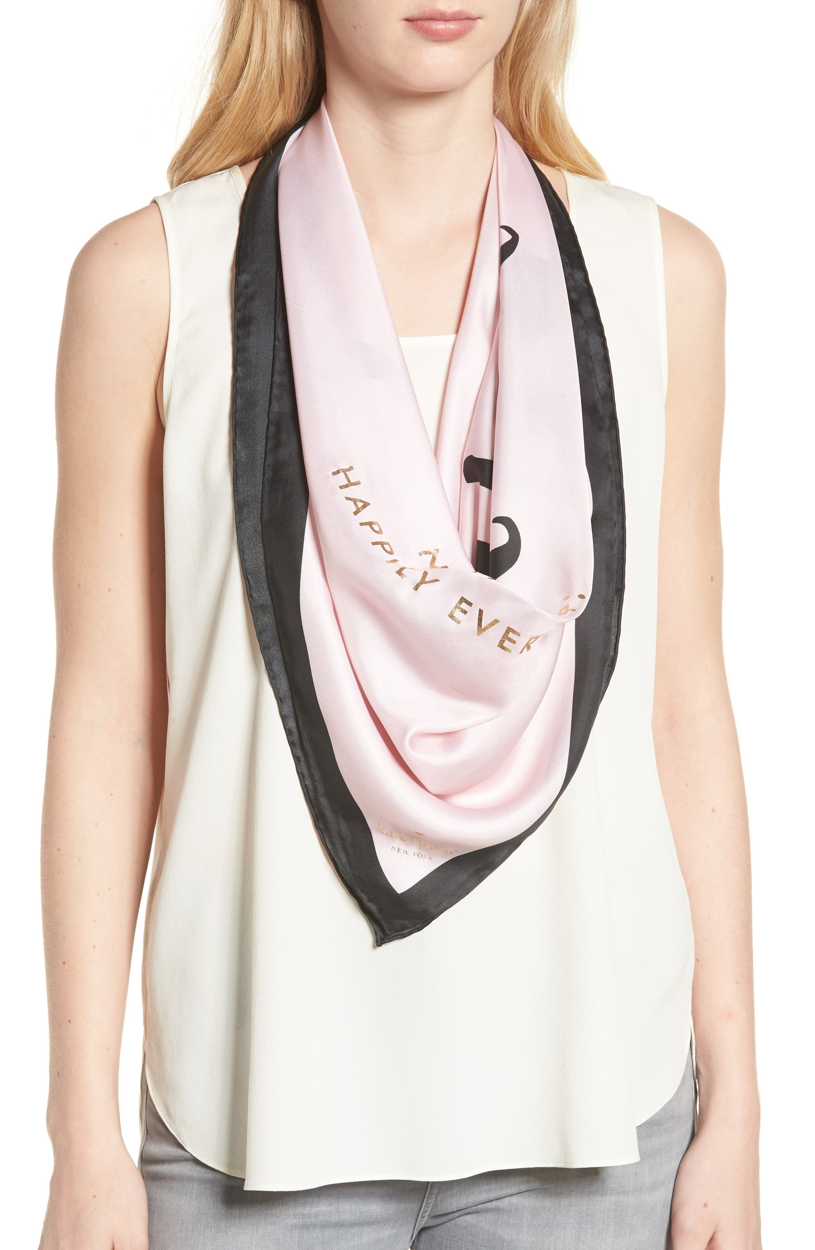 just married square silk scarf,                         Main,                         color, Blush
