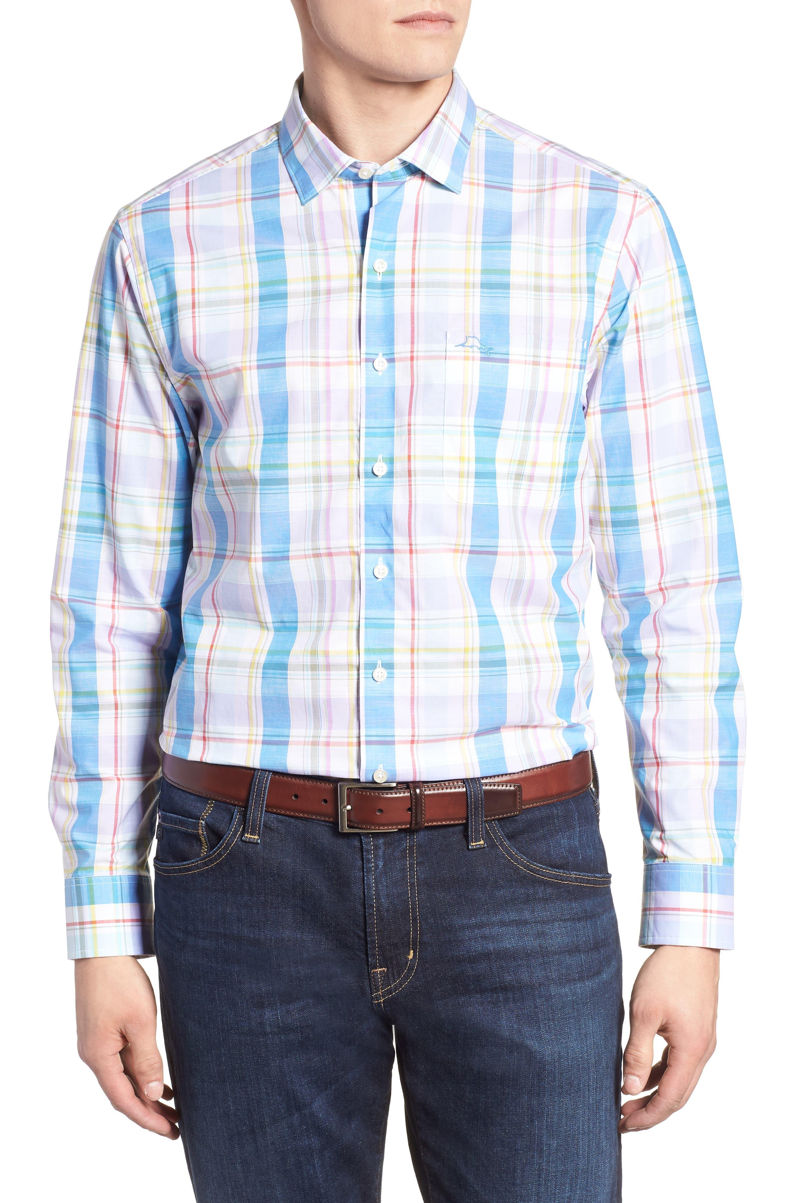 Privada Plaid Sport Shirt,                         Main,                         color, Blue Aster