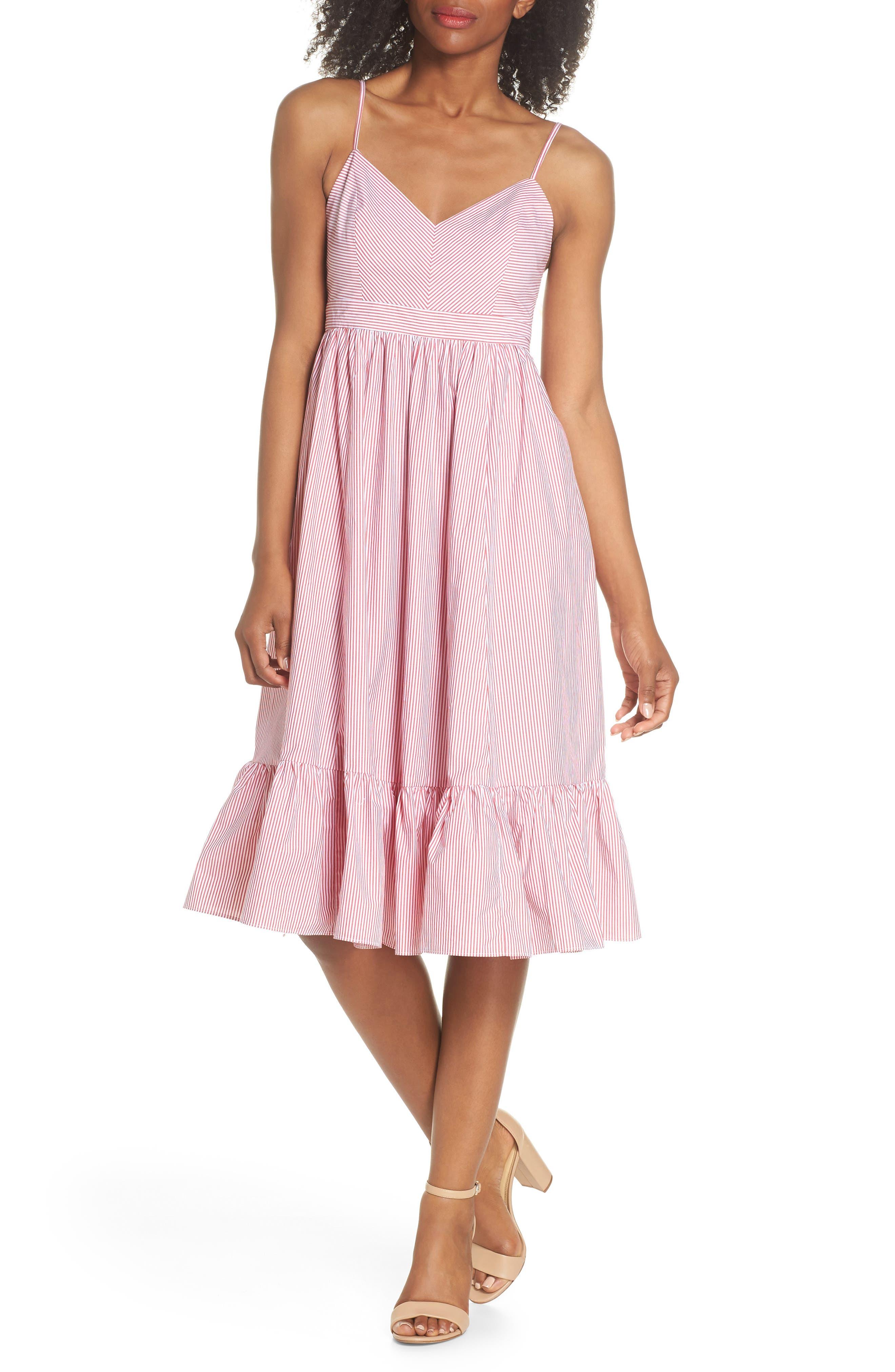 Drapey Spaghetti Strap Dress,                         Main,                         color, Providence Red
