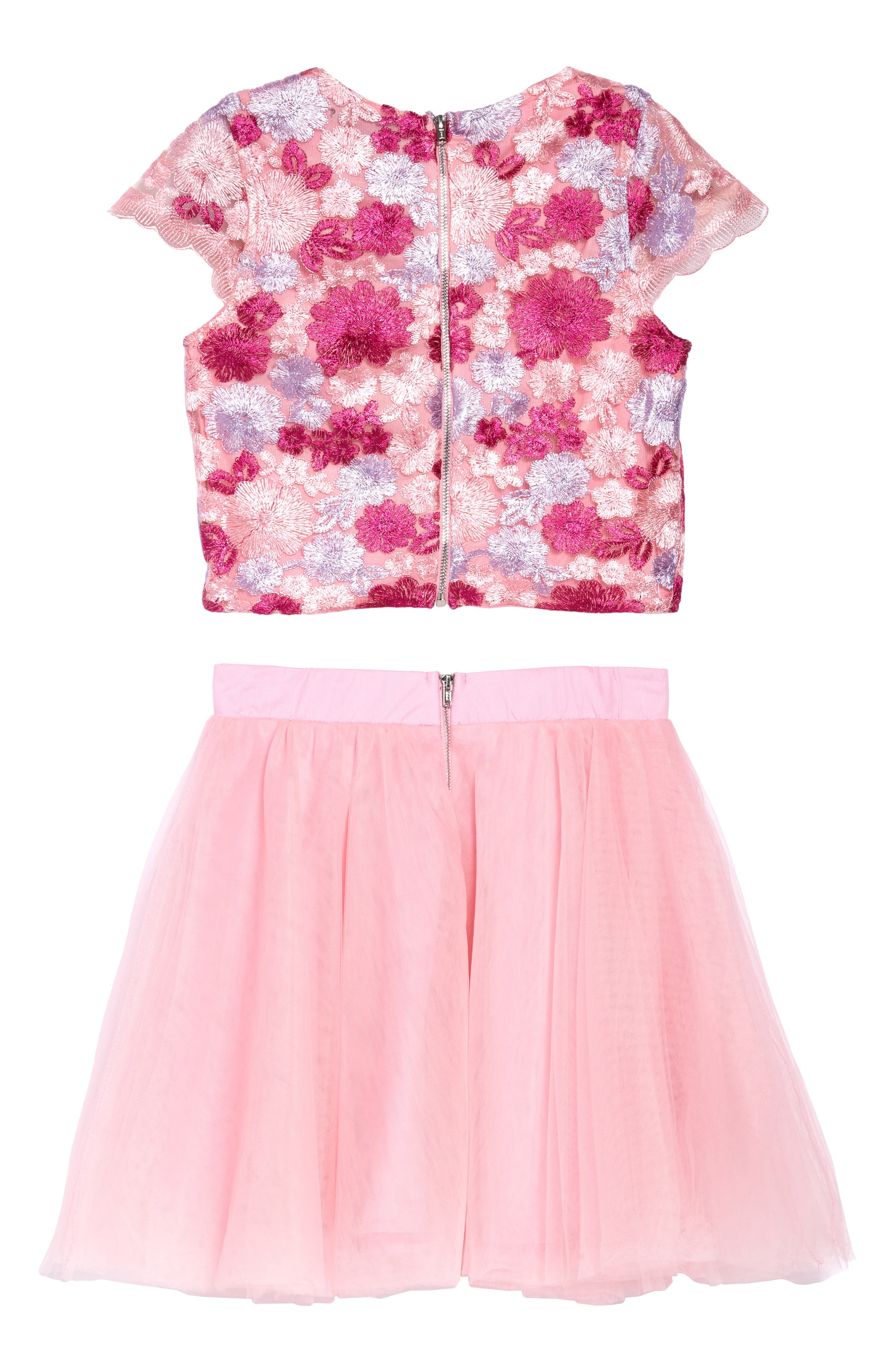 Brooke Embroidered Top & Tulle Skirt Set,                             Alternate thumbnail 2, color,                             Pink