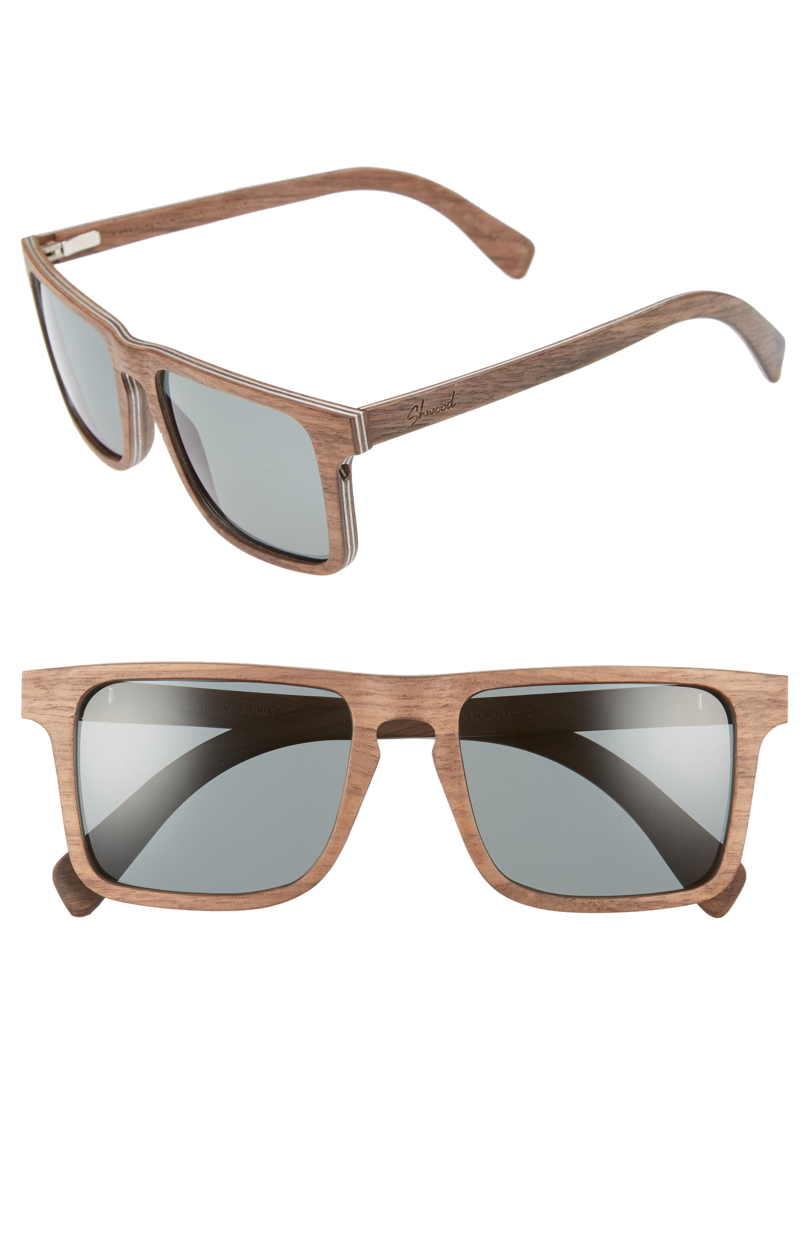 Govy 2 52mm Polarized Wood Sunglasses,                             Main thumbnail 1, color,                             Walnut/ Grey