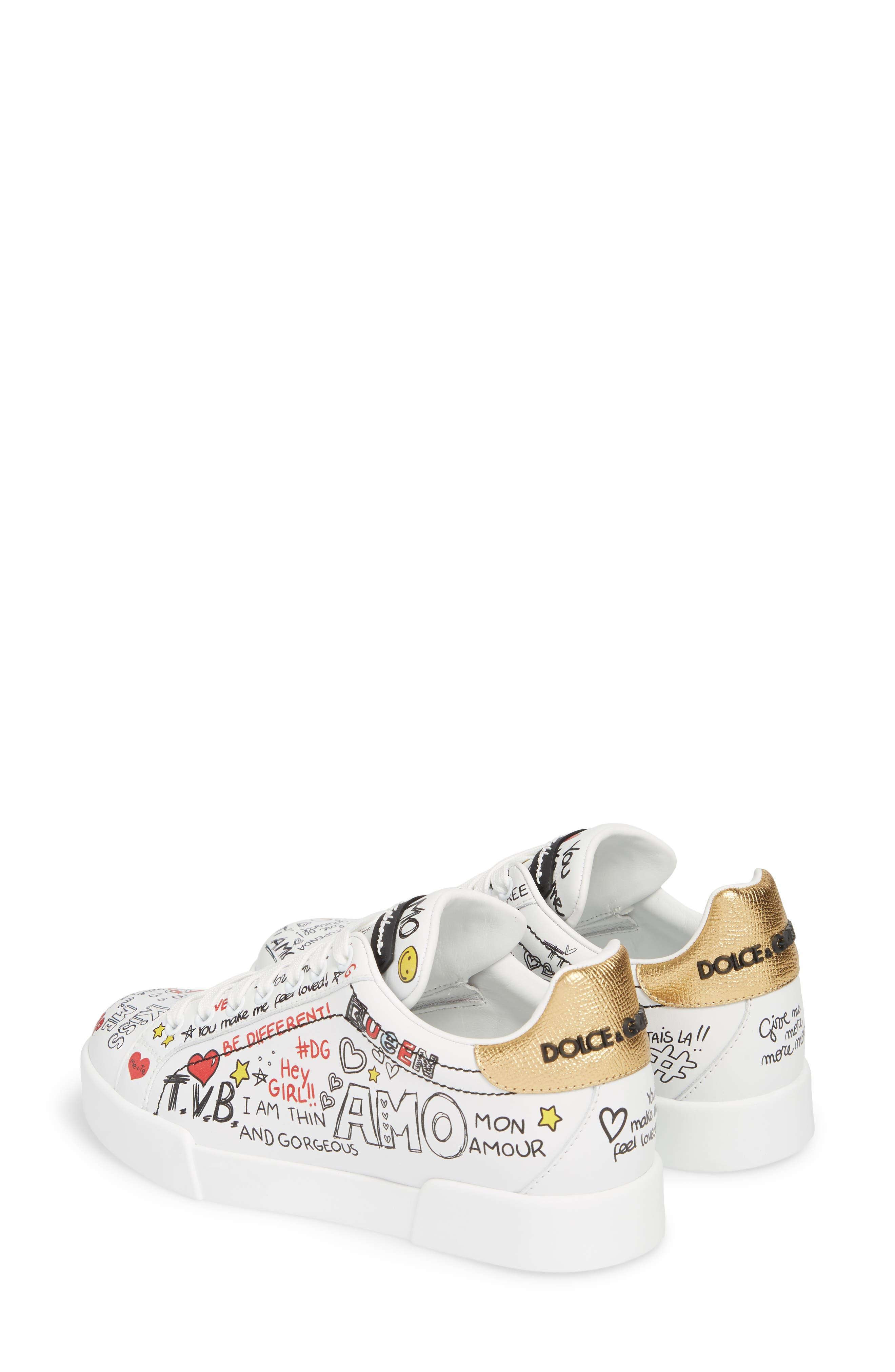 Graffiti Sneaker,                             Alternate thumbnail 3, color,                             White