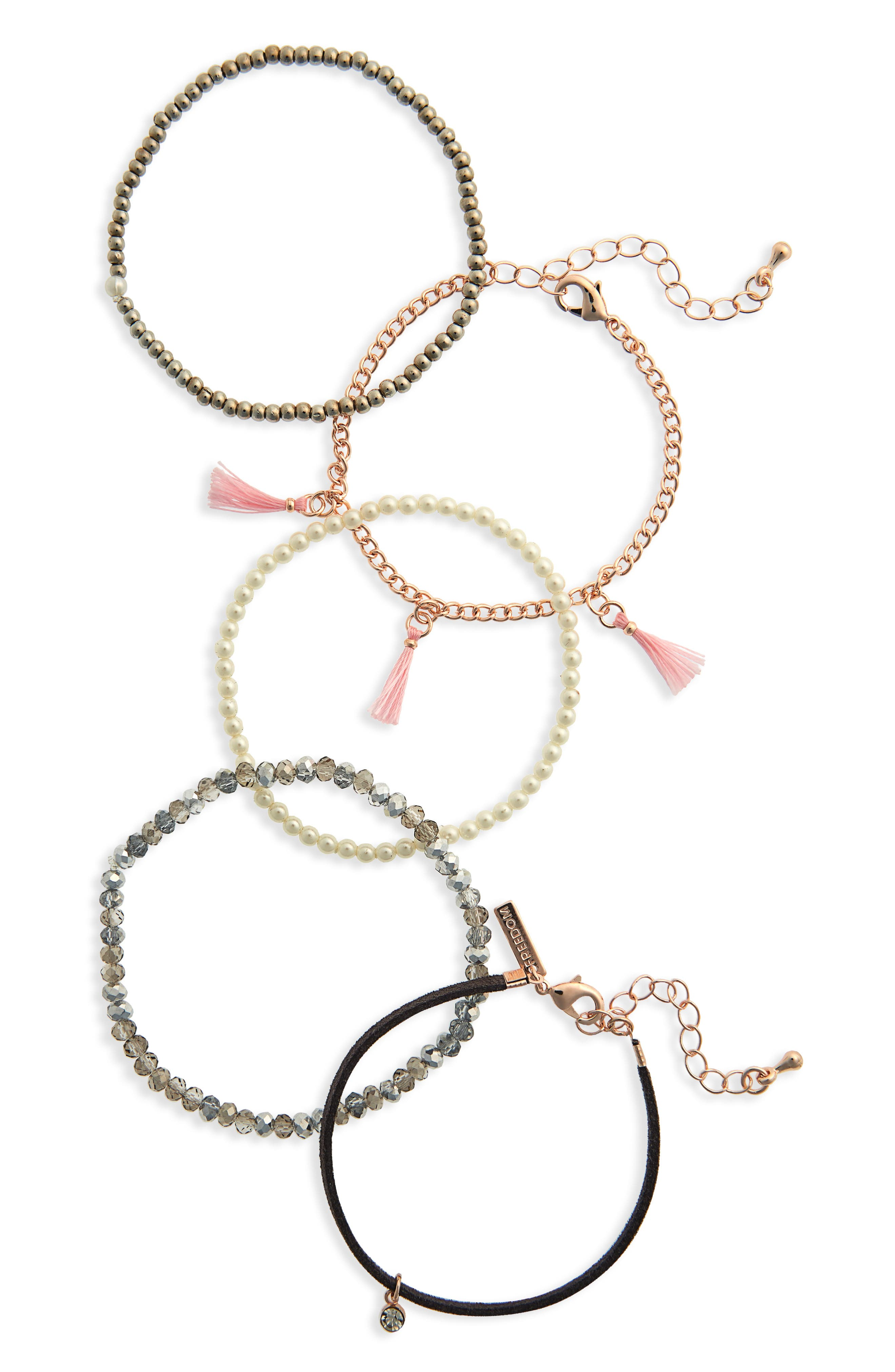 Tassel Bead Bracelet Pack,                             Main thumbnail 1, color,                             Pink