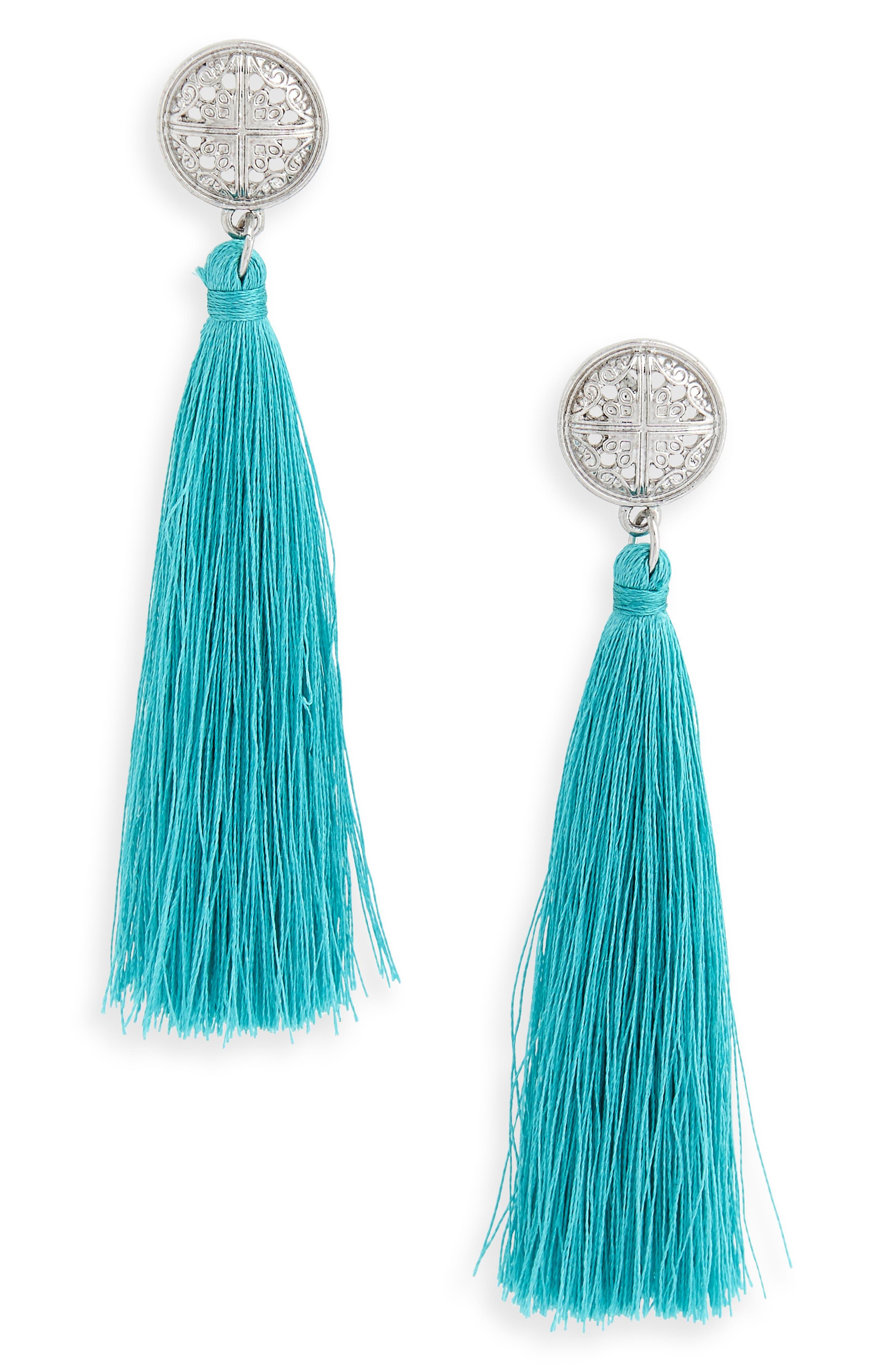 Main Image - Topshop Tassel Coin Earrings