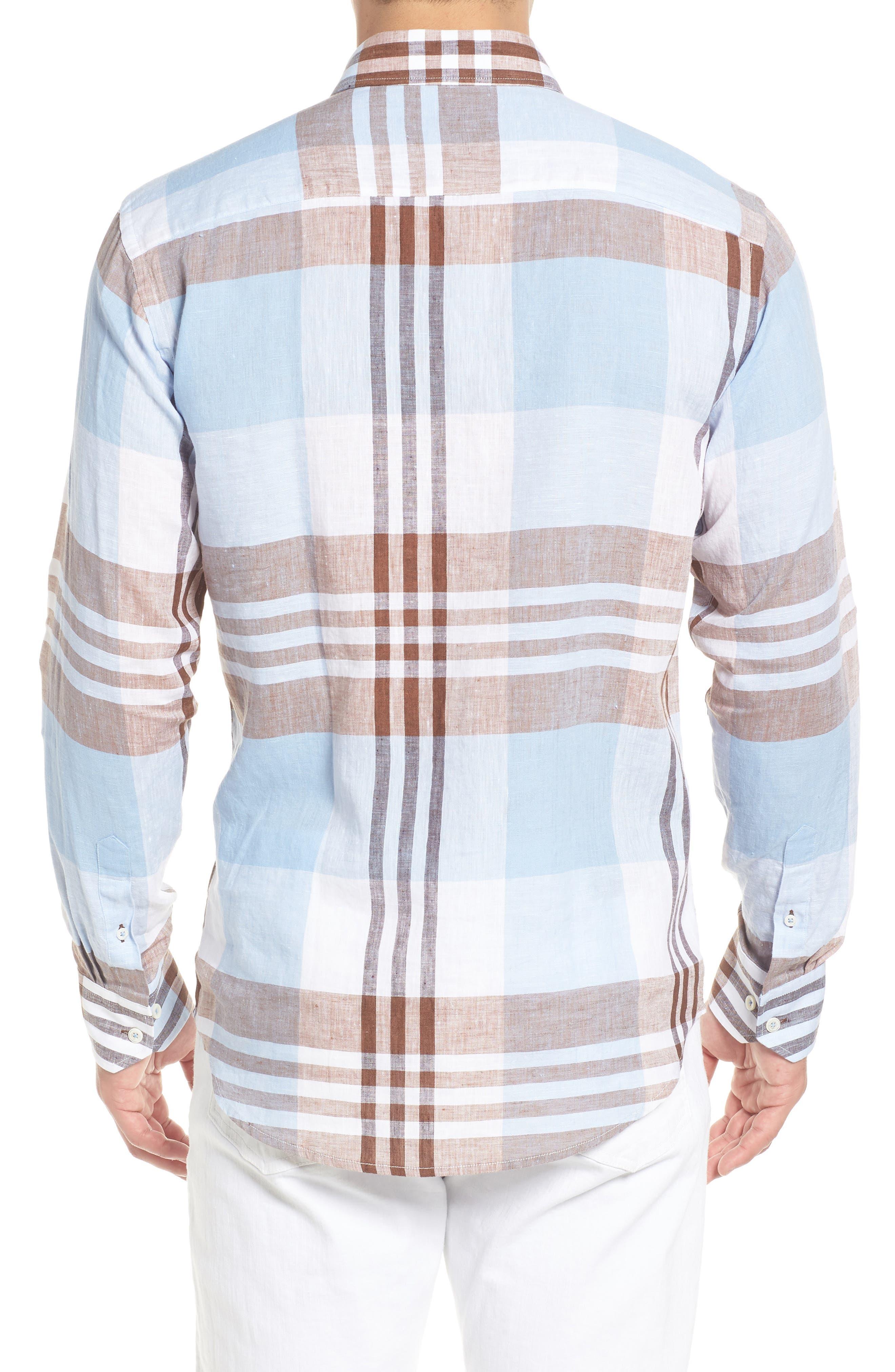 Shaped Fit Plaid Linen Blend Sport Shirt,                             Alternate thumbnail 3, color,                             Mocha