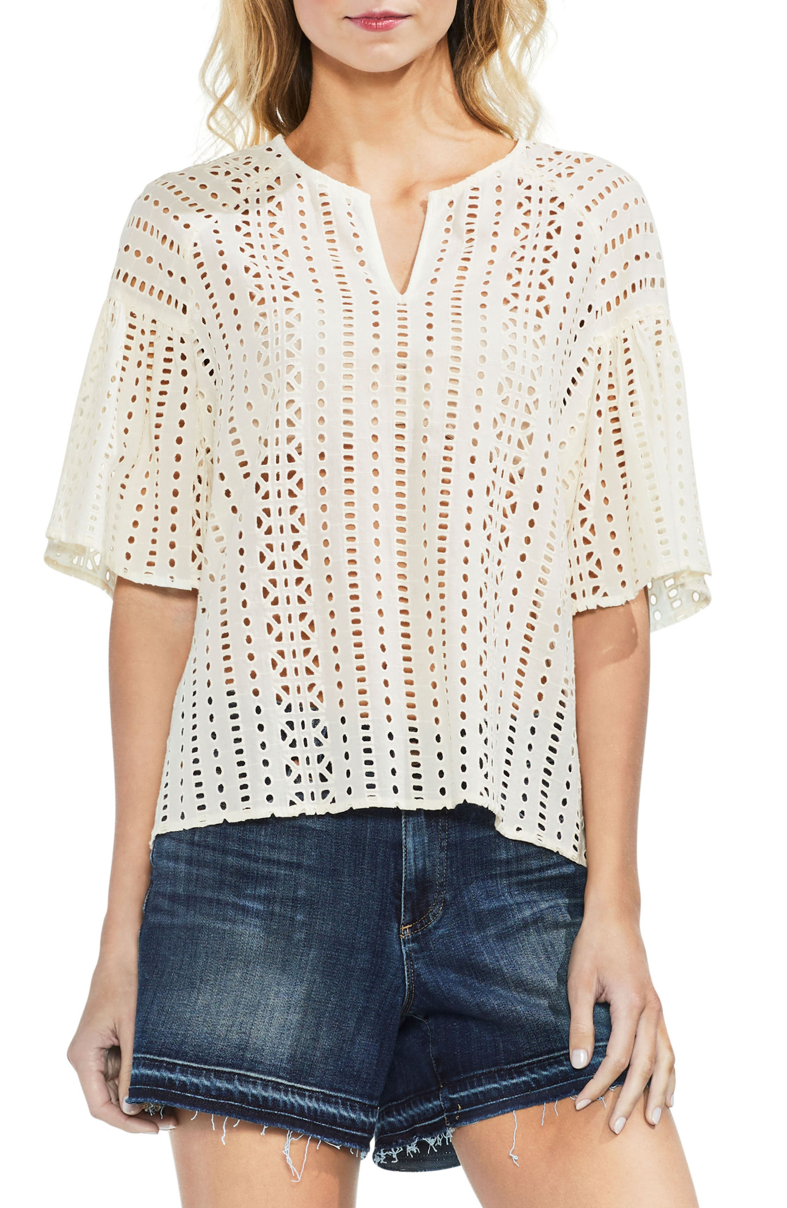 Ruffle Sleeve Eyelet Top,                         Main,                         color, Antique White