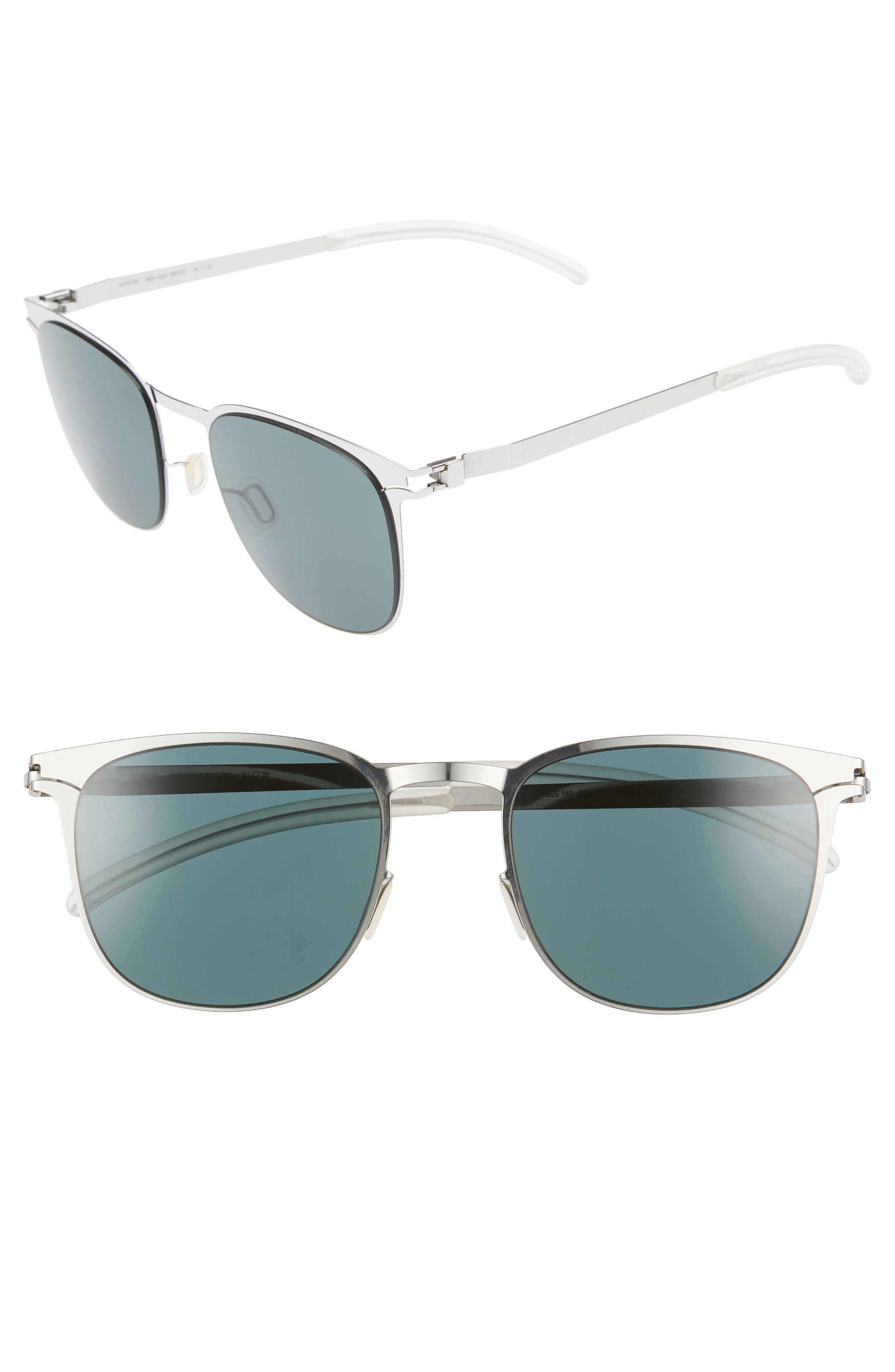 Brody 51mm Polarized Sunglasses,                         Main,                         color, Shiny Silver