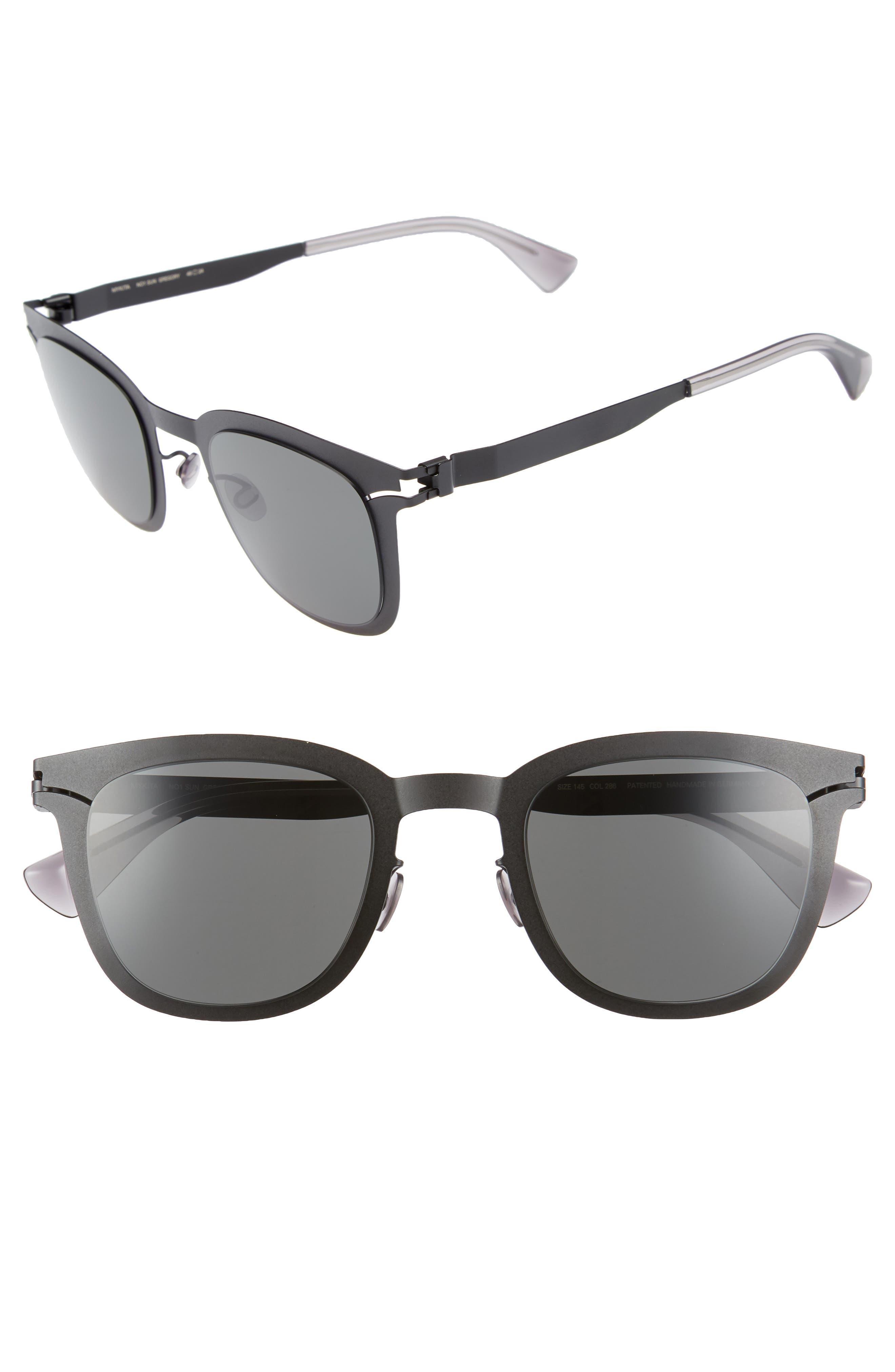 Gregory 49mm Sunglasses,                             Main thumbnail 1, color,                             Matte Black