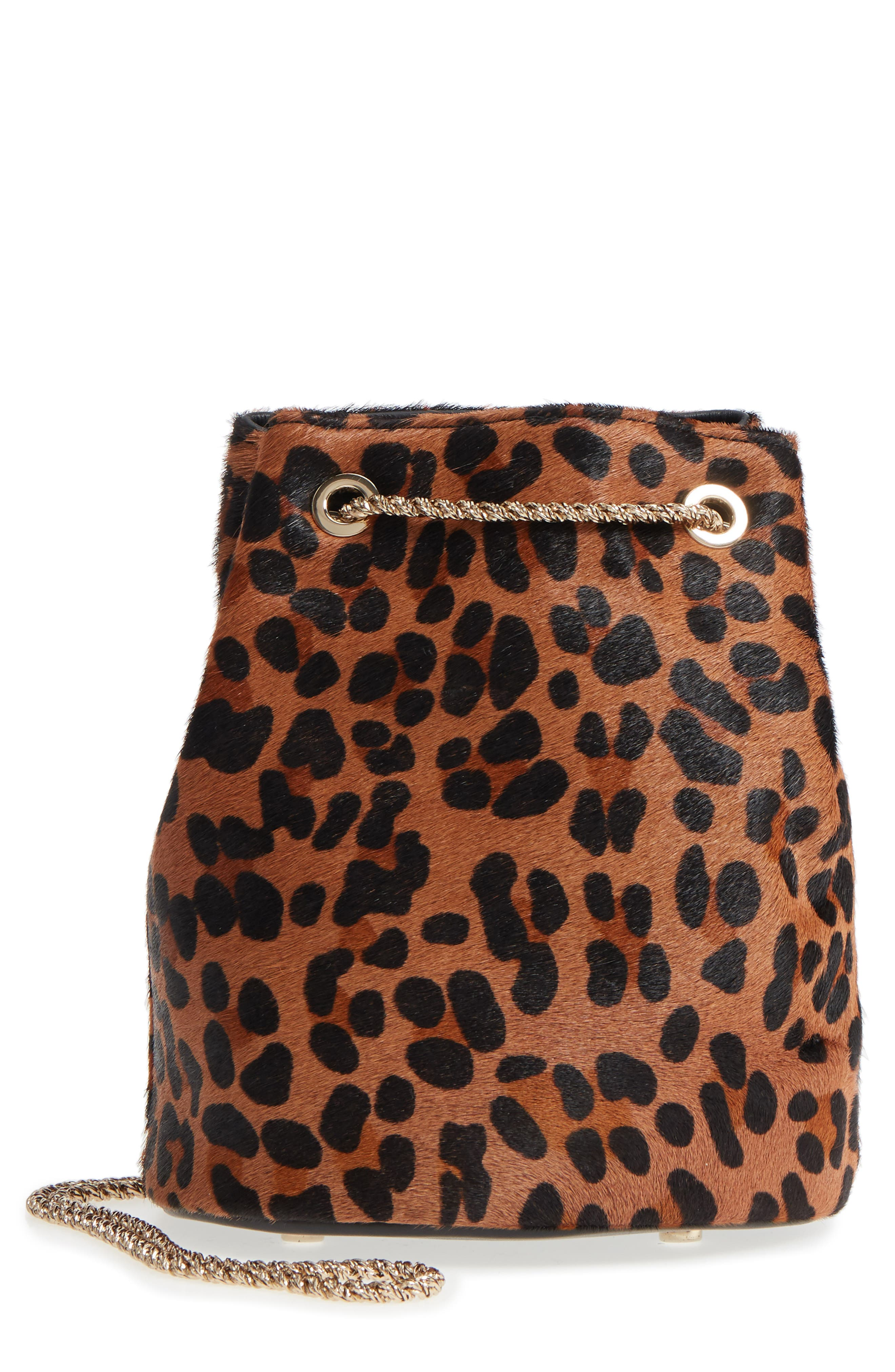 Hope Genuine Calf Hair Bucket Bag,                             Main thumbnail 1, color,                             Leaopard/ Maroquinerie