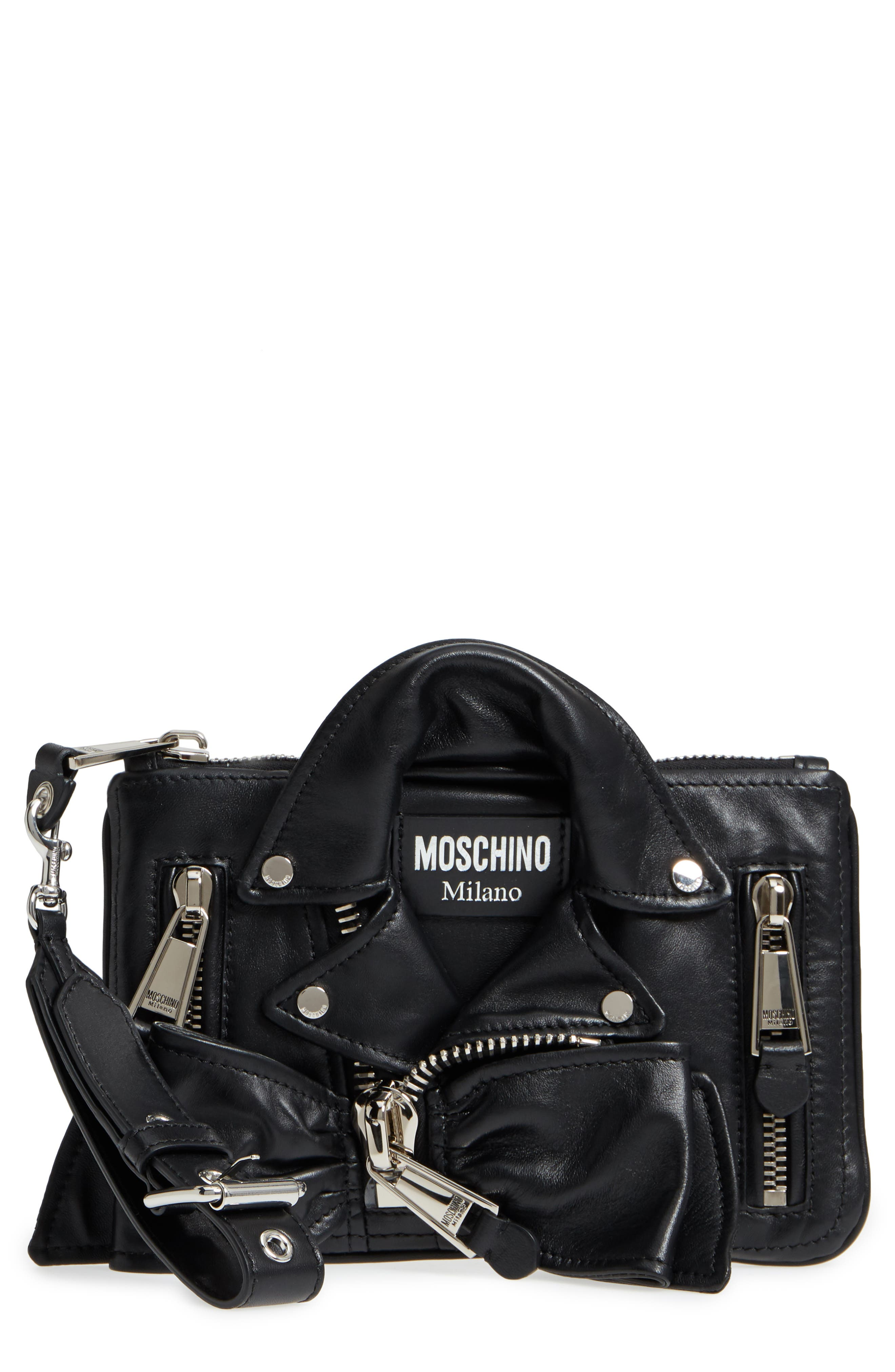 Moschino Biker Jacket Leather Wristlet