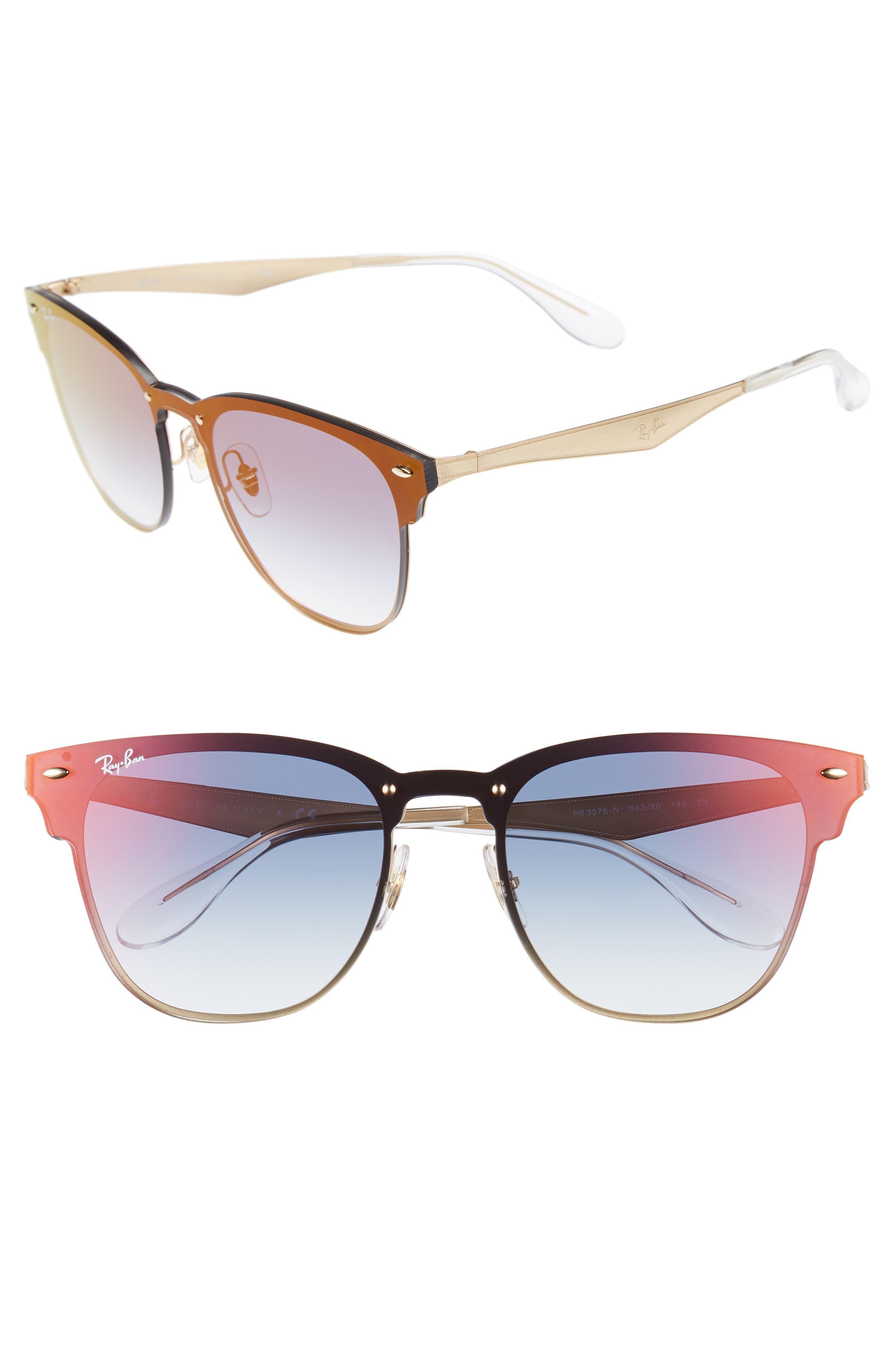 Blaze Clubmaster 47mm Sunglasses,                             Main thumbnail 1, color,                             Gold