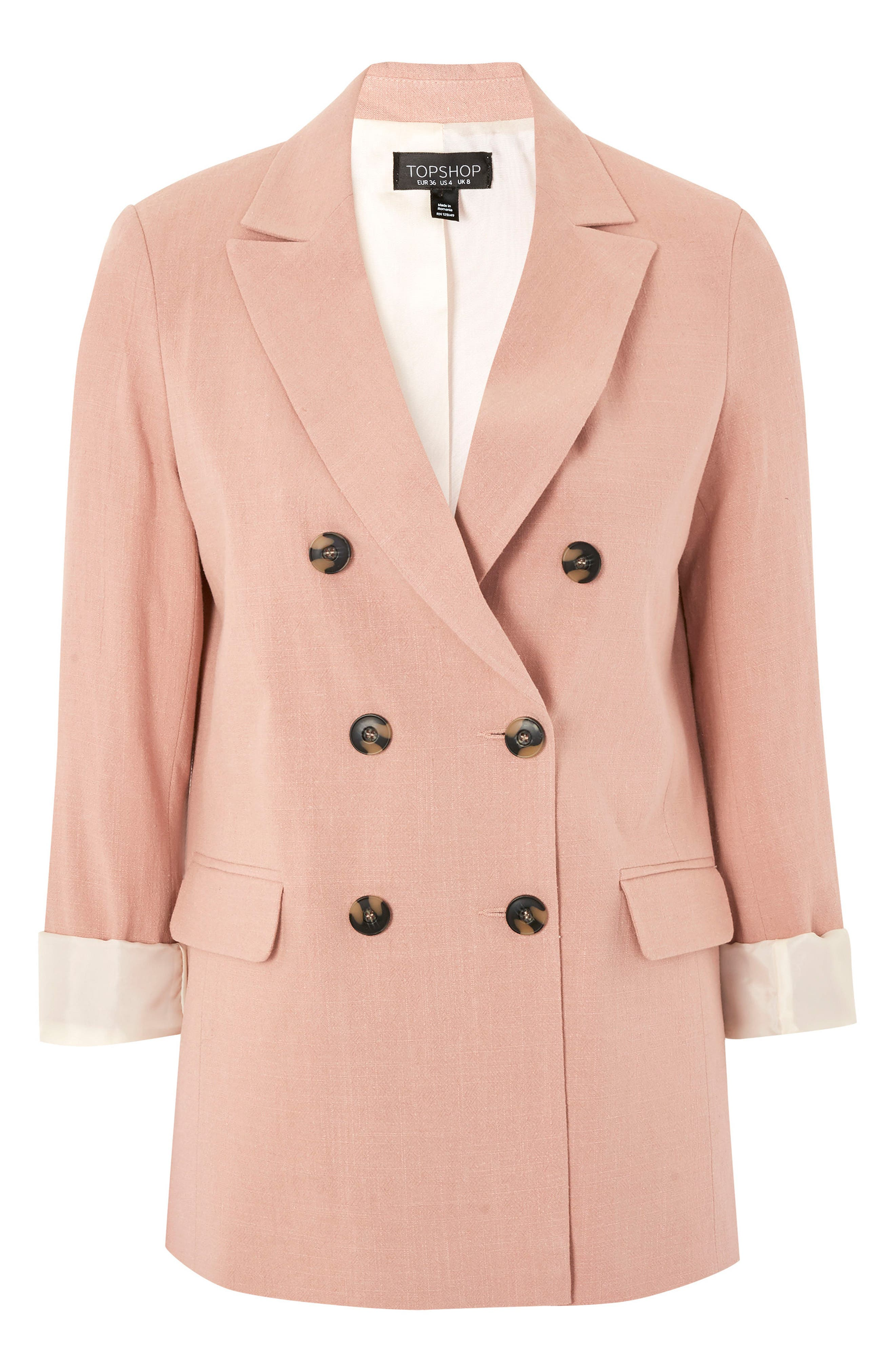 Double Breasted Blazer,                             Alternate thumbnail 4, color,                             Pink