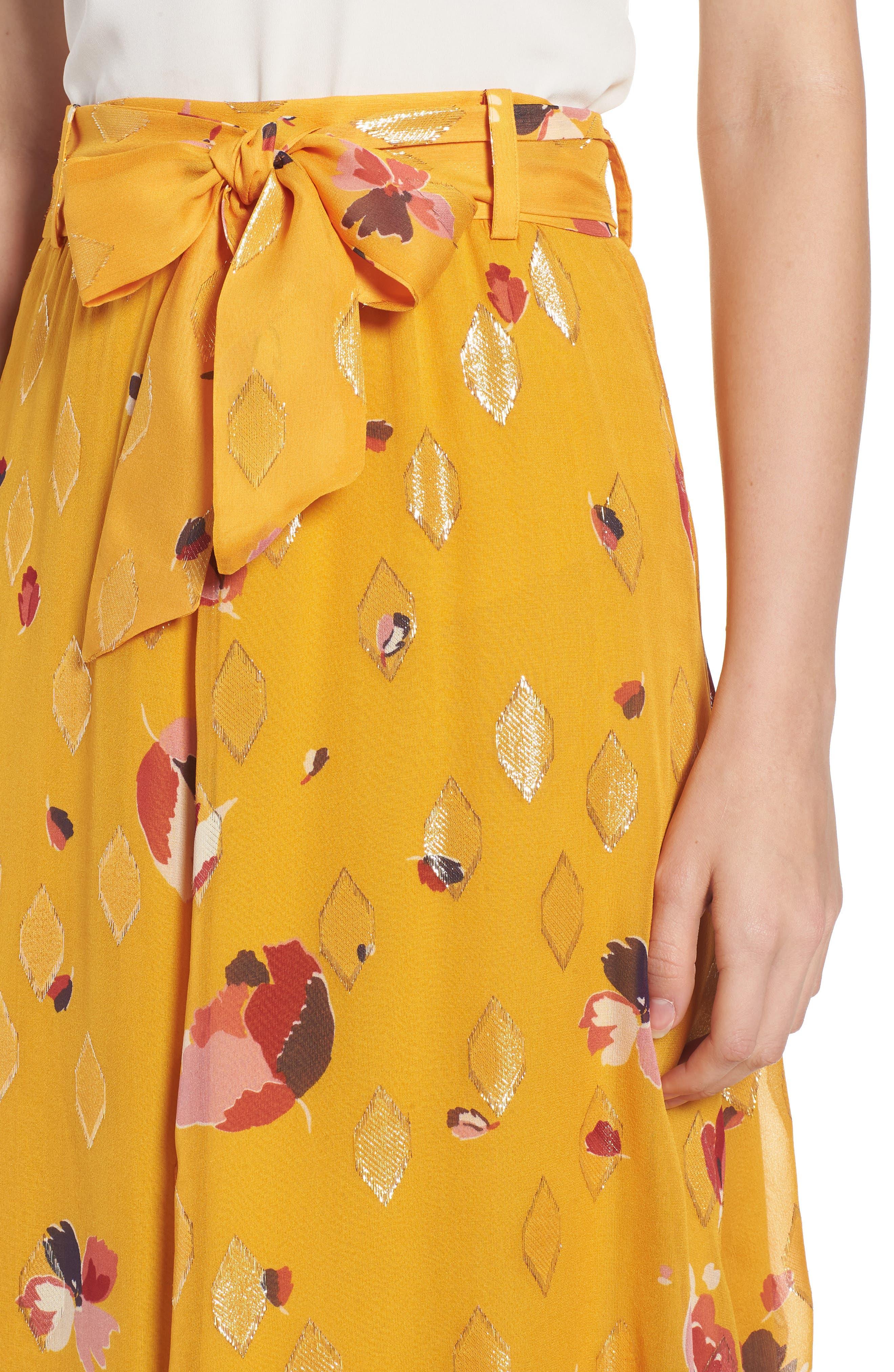 Arizona Floral & Metallic Silk Blend Skirt,                             Alternate thumbnail 5, color,                             Big Flowers 60S On Saffron
