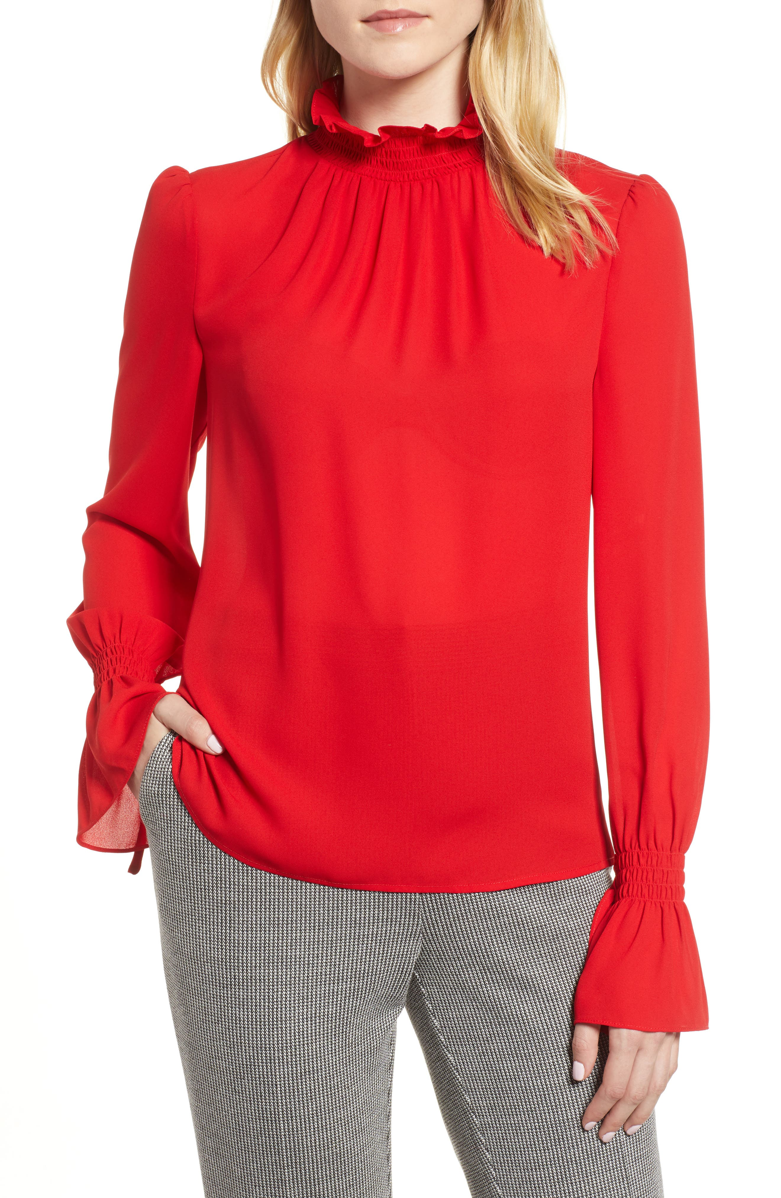 Smocked Neck Blouse,                         Main,                         color, Radiant Red
