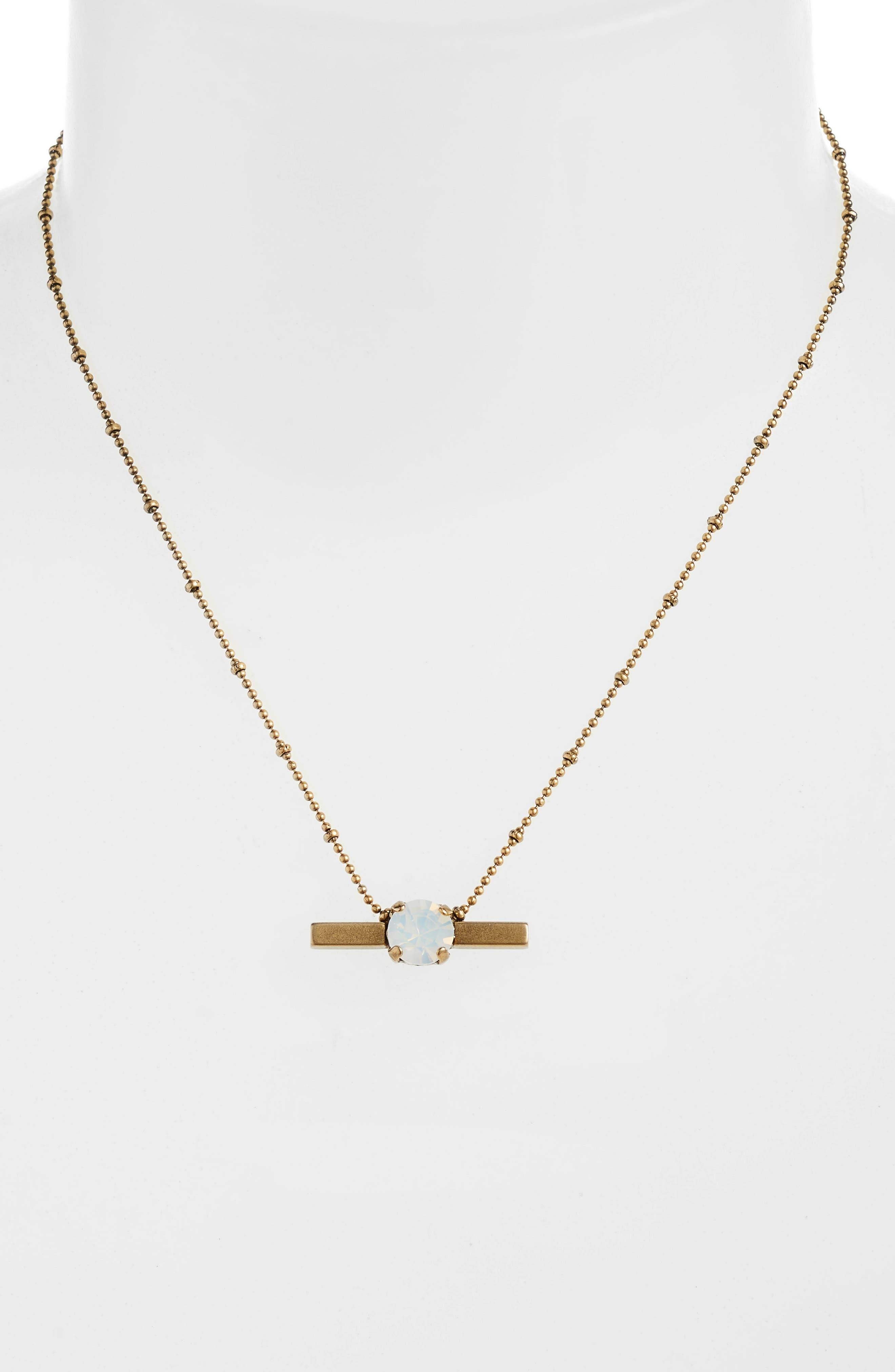 Nora Crystal Bar Necklace,                             Alternate thumbnail 2, color,                             White Opal/ Gold