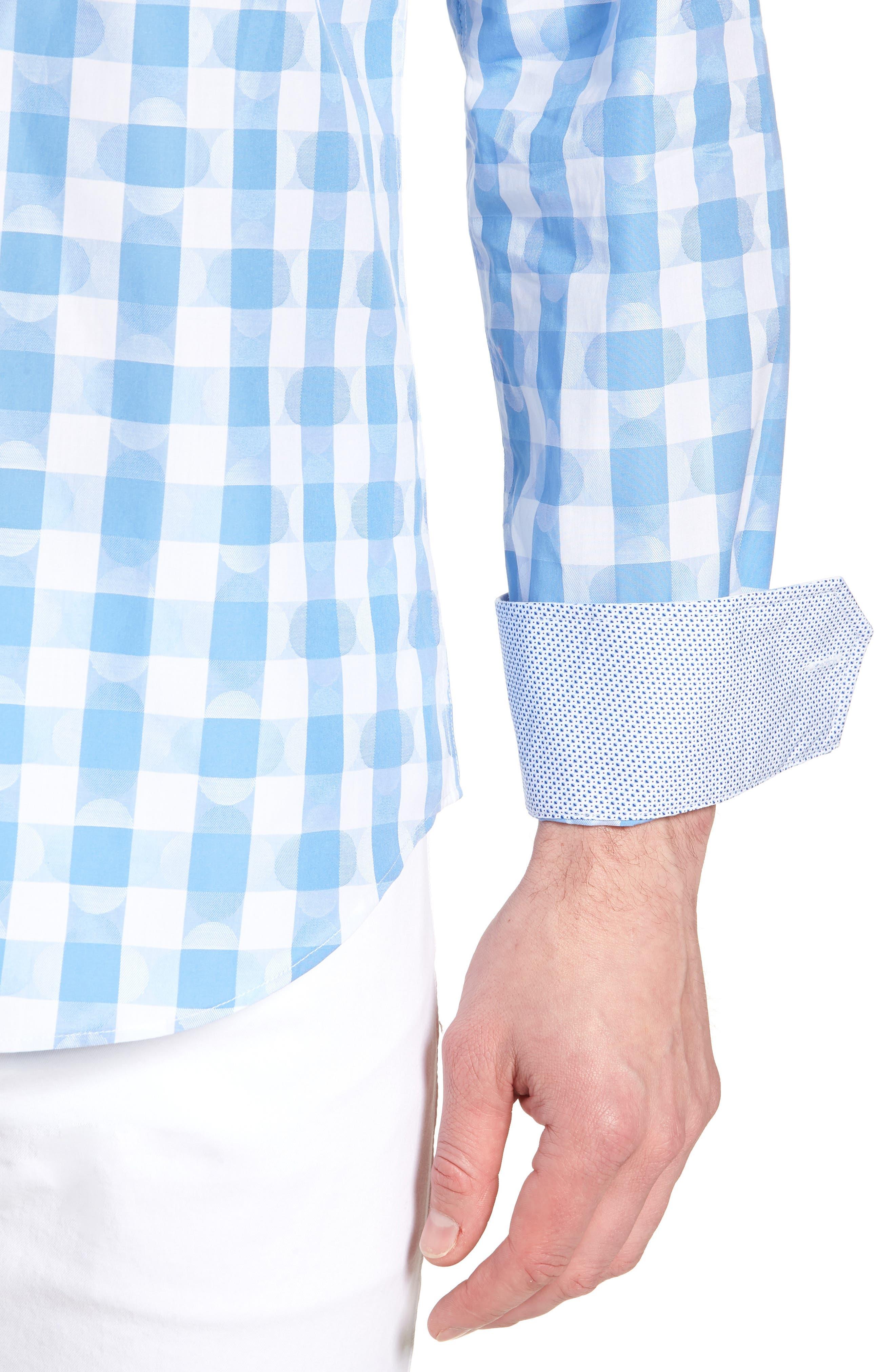 Shaped Fit Jacquard Gingham Sport Shirt,                             Alternate thumbnail 2, color,                             Classic Blue