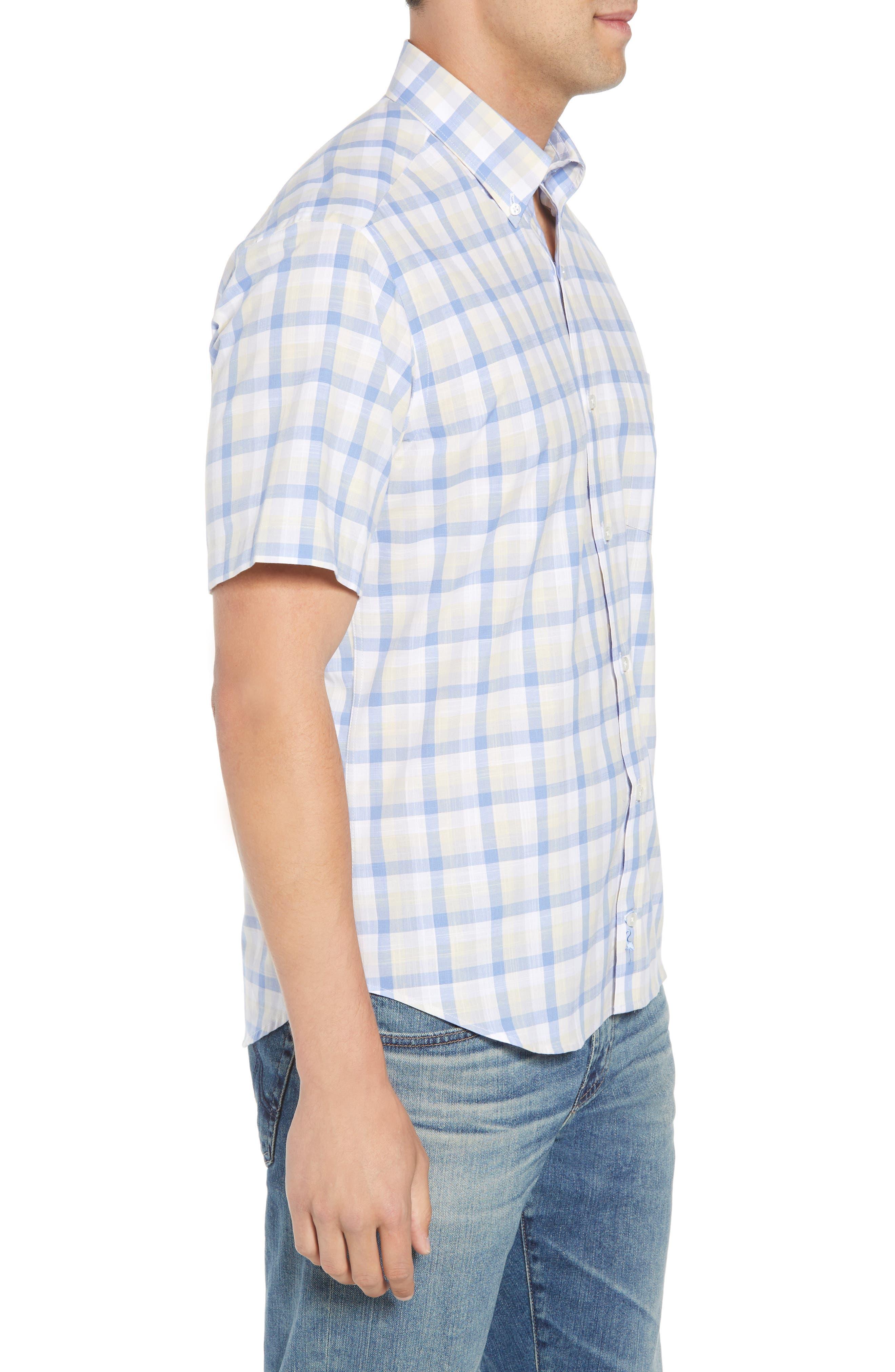 Jaziel Regular Fit Check Sport Shirt,                             Alternate thumbnail 4, color,                             Light Blue