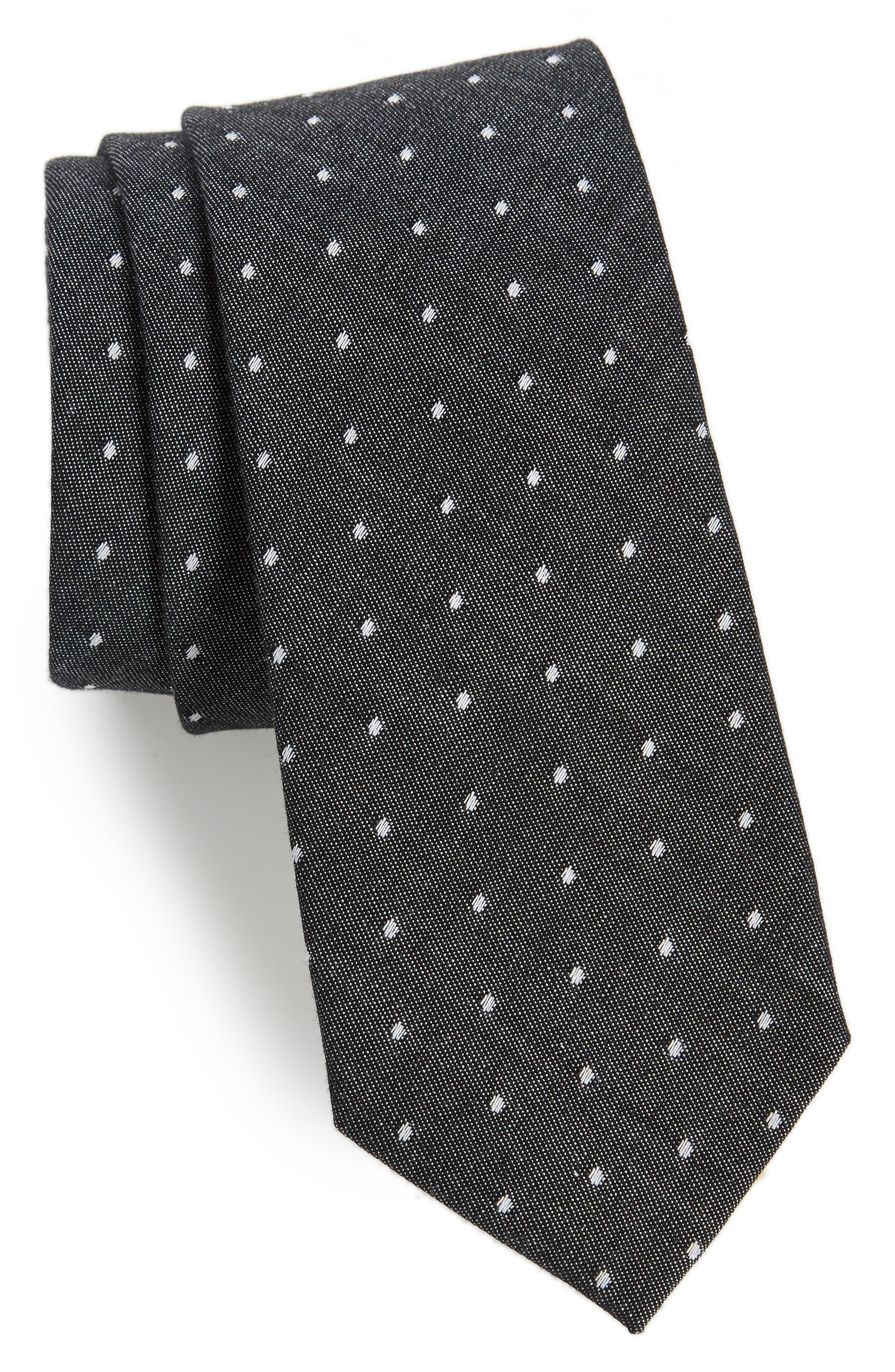 Manzano Dot Cotton Tie,                         Main,                         color, Navy