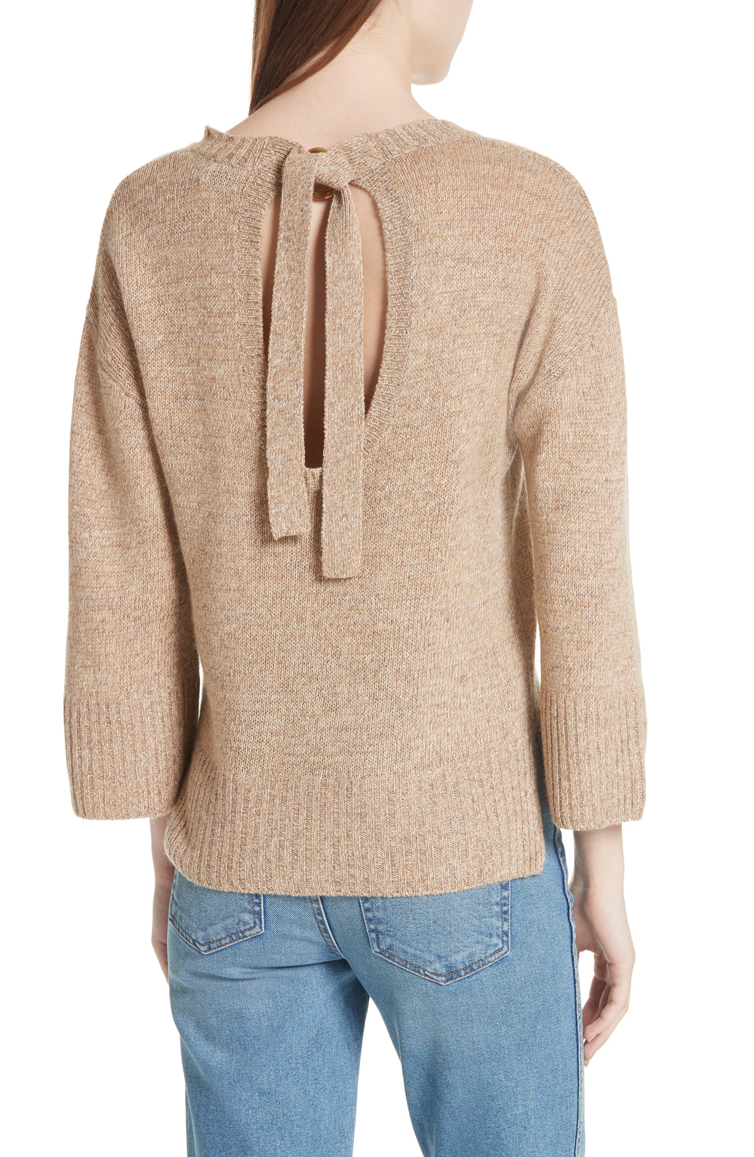 Keyhole Back Sweater,                             Alternate thumbnail 2, color,                             Camel