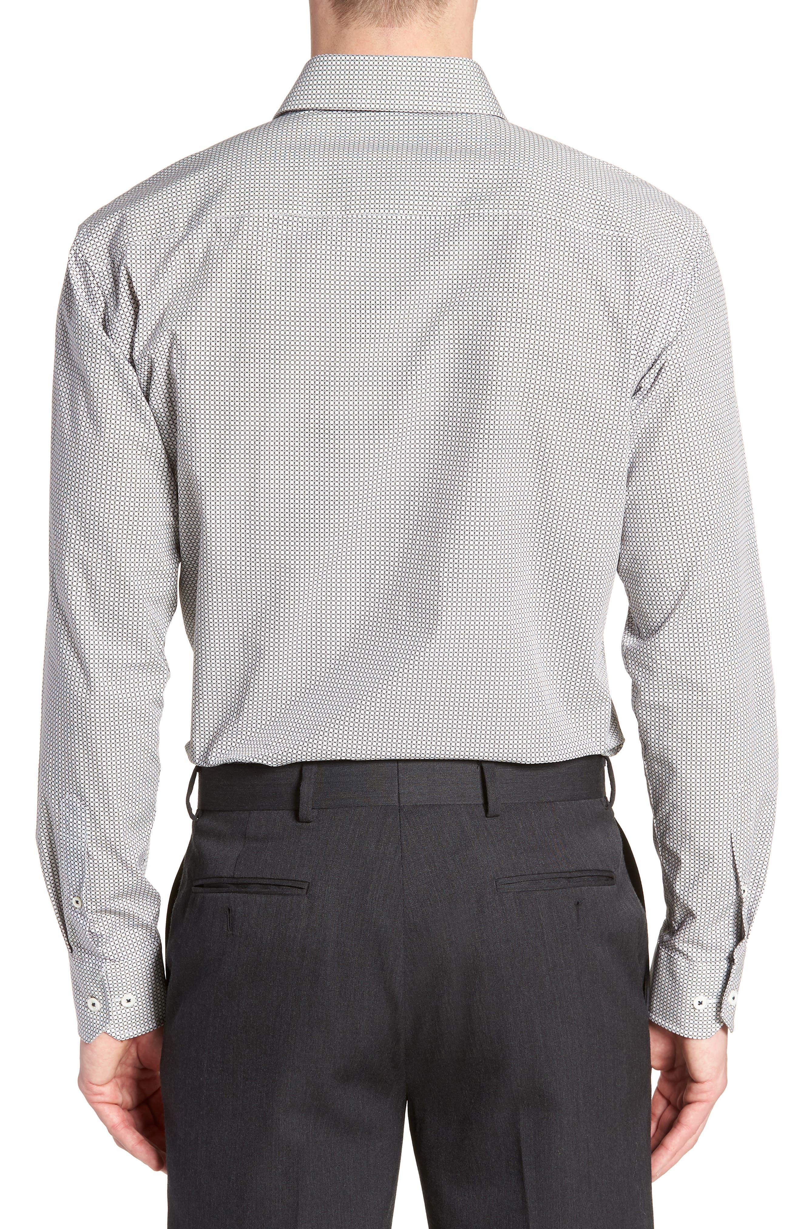 Trim Fit Print Dress Shirt,                             Alternate thumbnail 3, color,                             Platinum