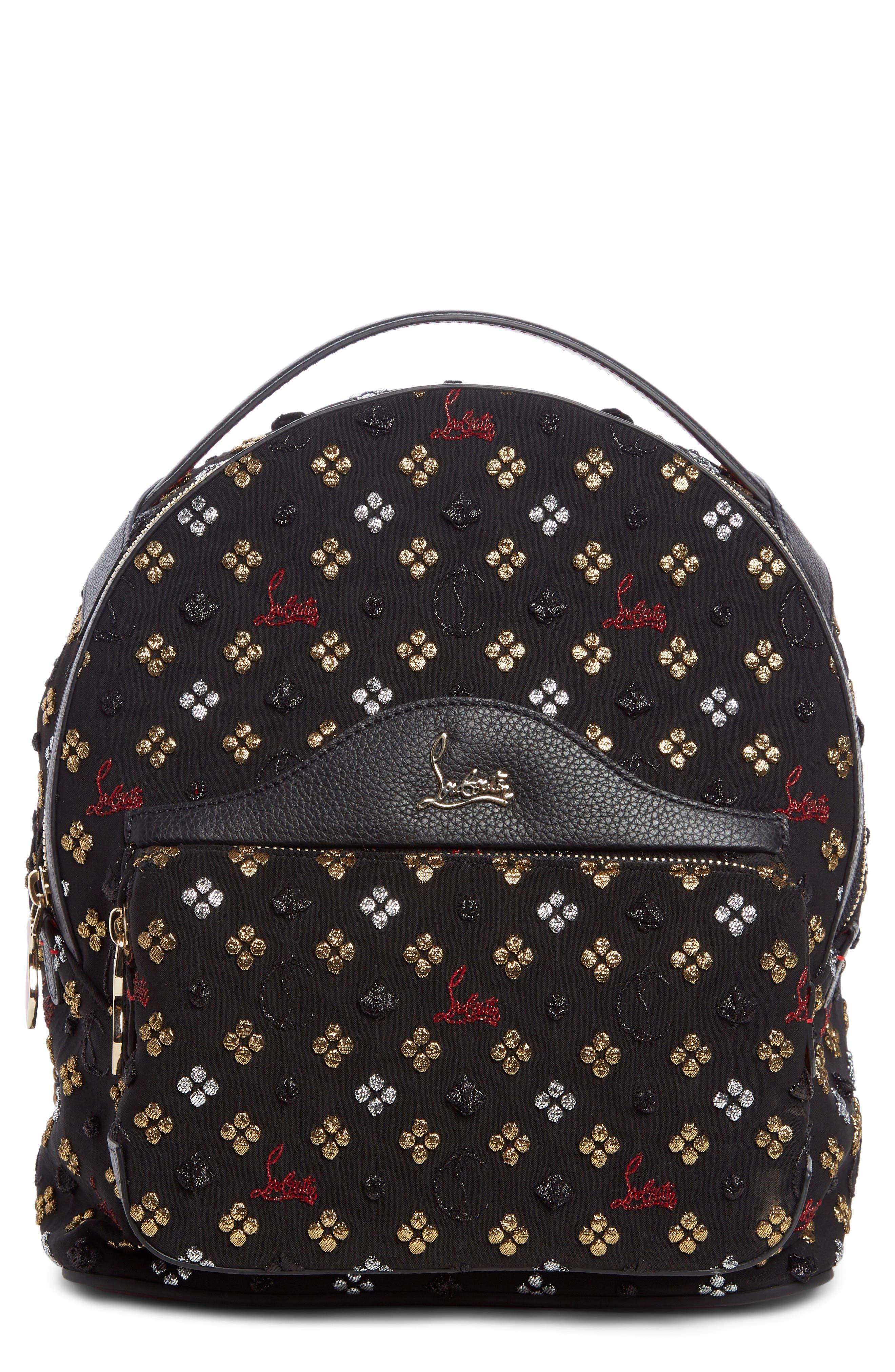 Small Backloubi Metallic Jacquard Backpack,                             Main thumbnail 1, color,                             Black Multi