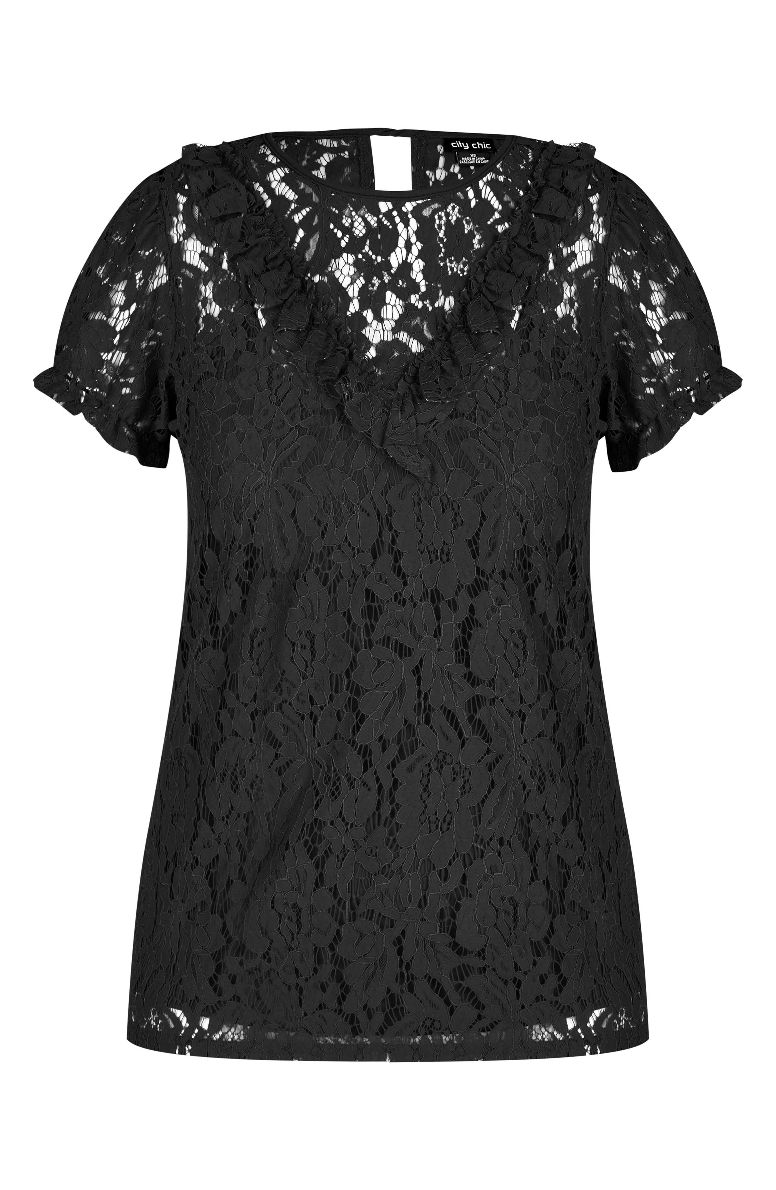 Lace Ruffle Top,                             Alternate thumbnail 3, color,                             Black