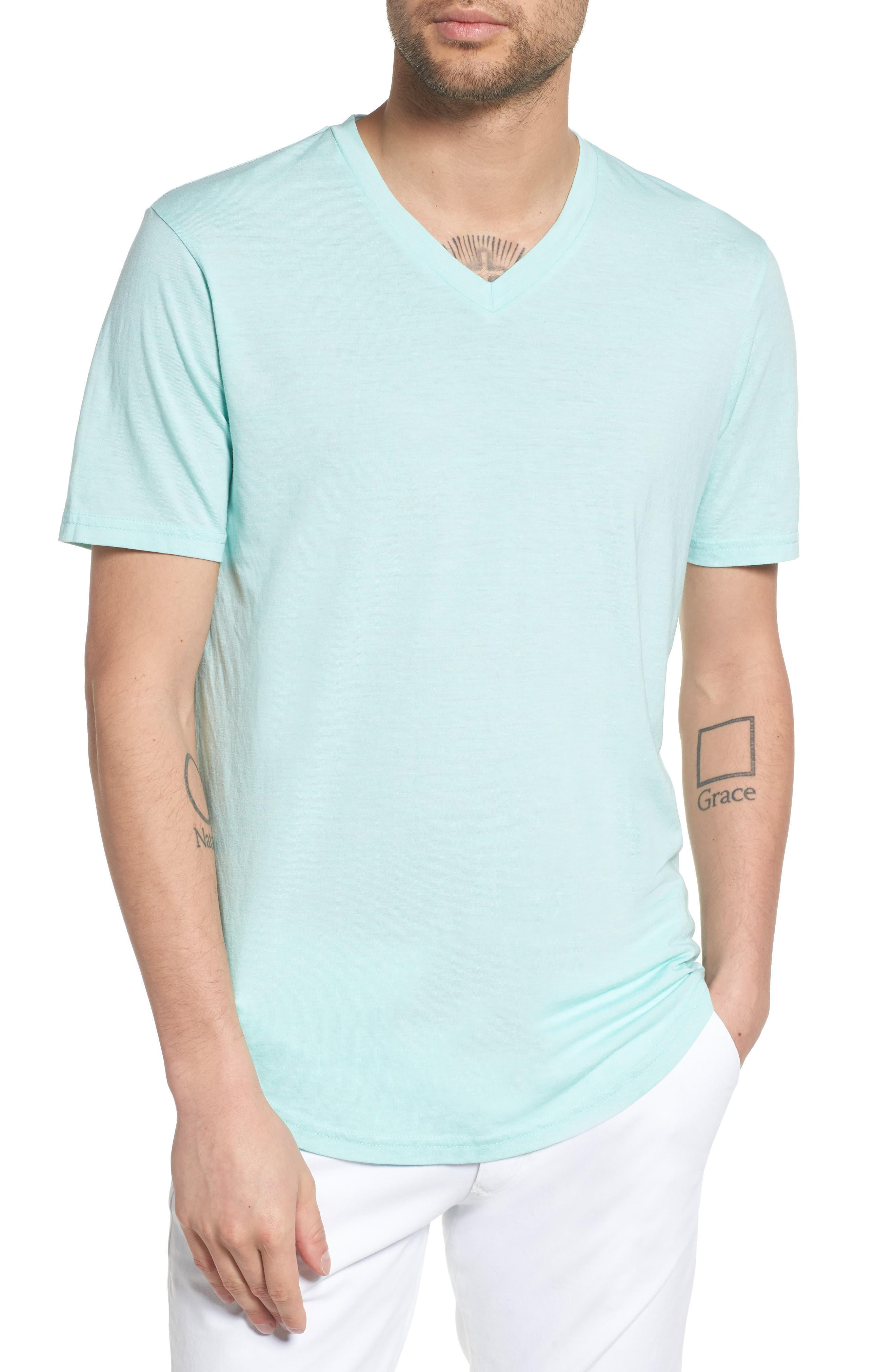 Scallop Triblend V-Neck T-Shirt,                             Main thumbnail 1, color,                             Aqua Sky