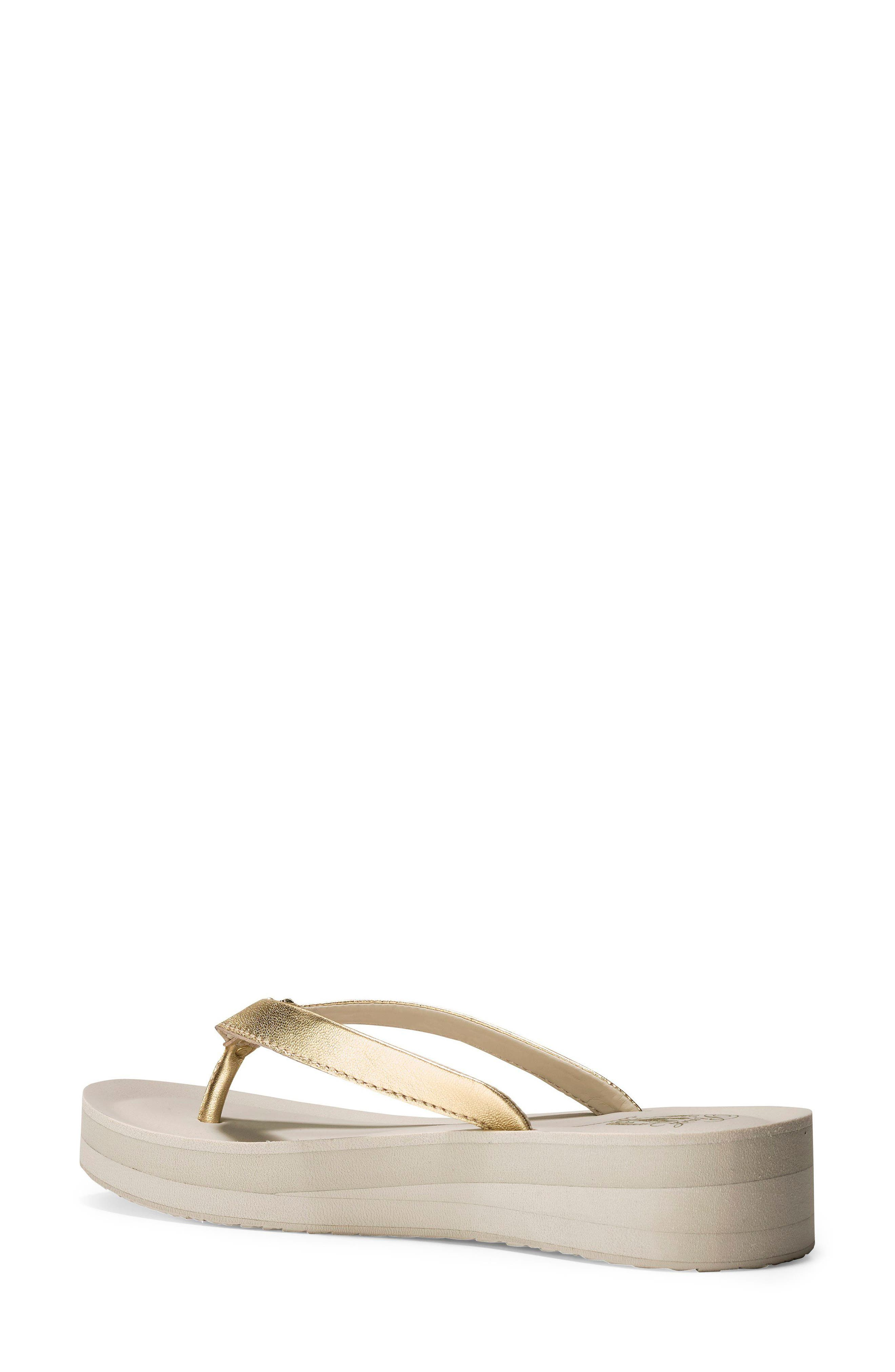 Lobster Wedge Flip Flop,                             Alternate thumbnail 2, color,                             Gold/ Pumice Stone Leather