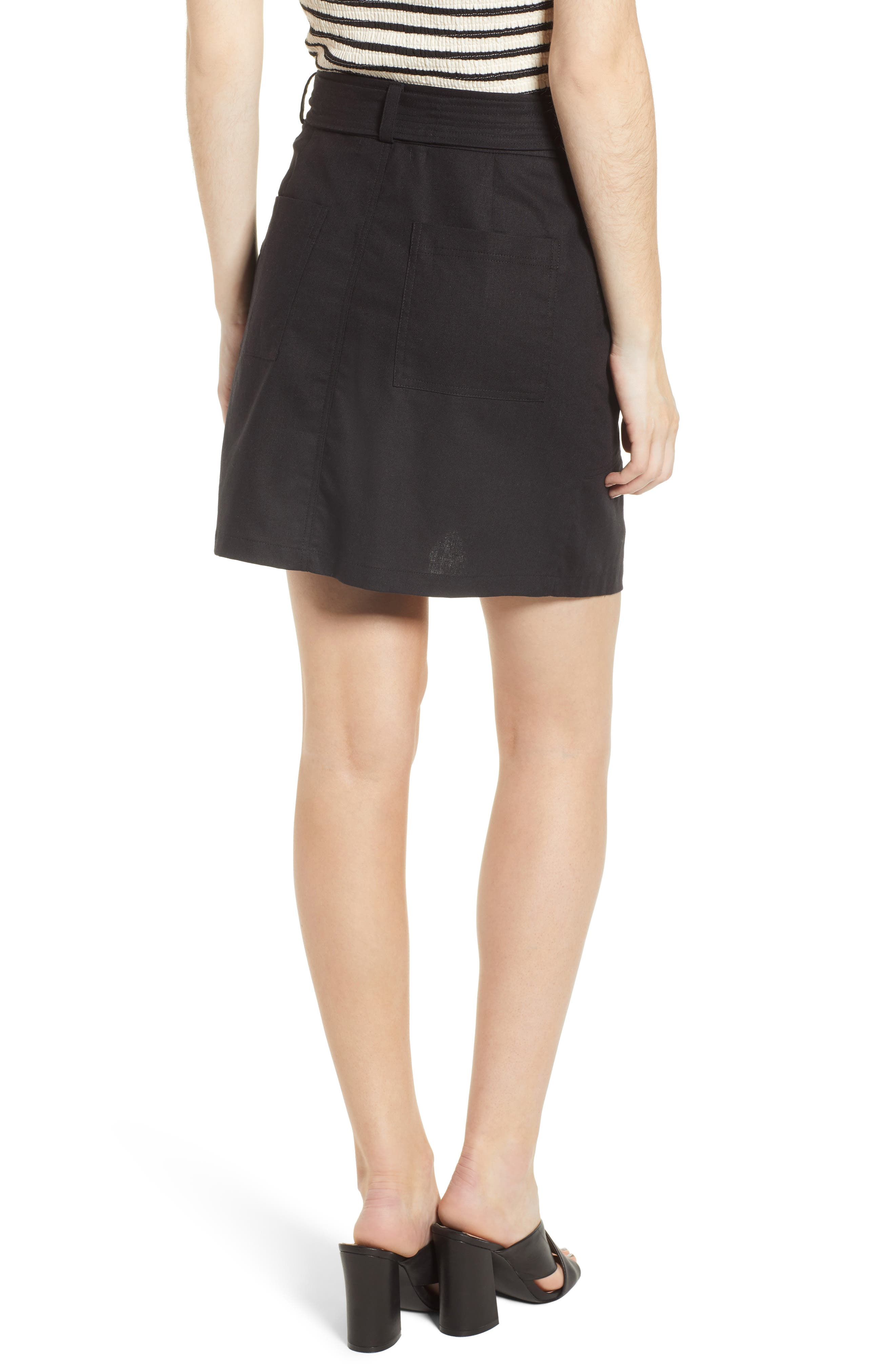 Bishop + Young Tie Front Wrap Style Skirt,                             Alternate thumbnail 2, color,                             Black