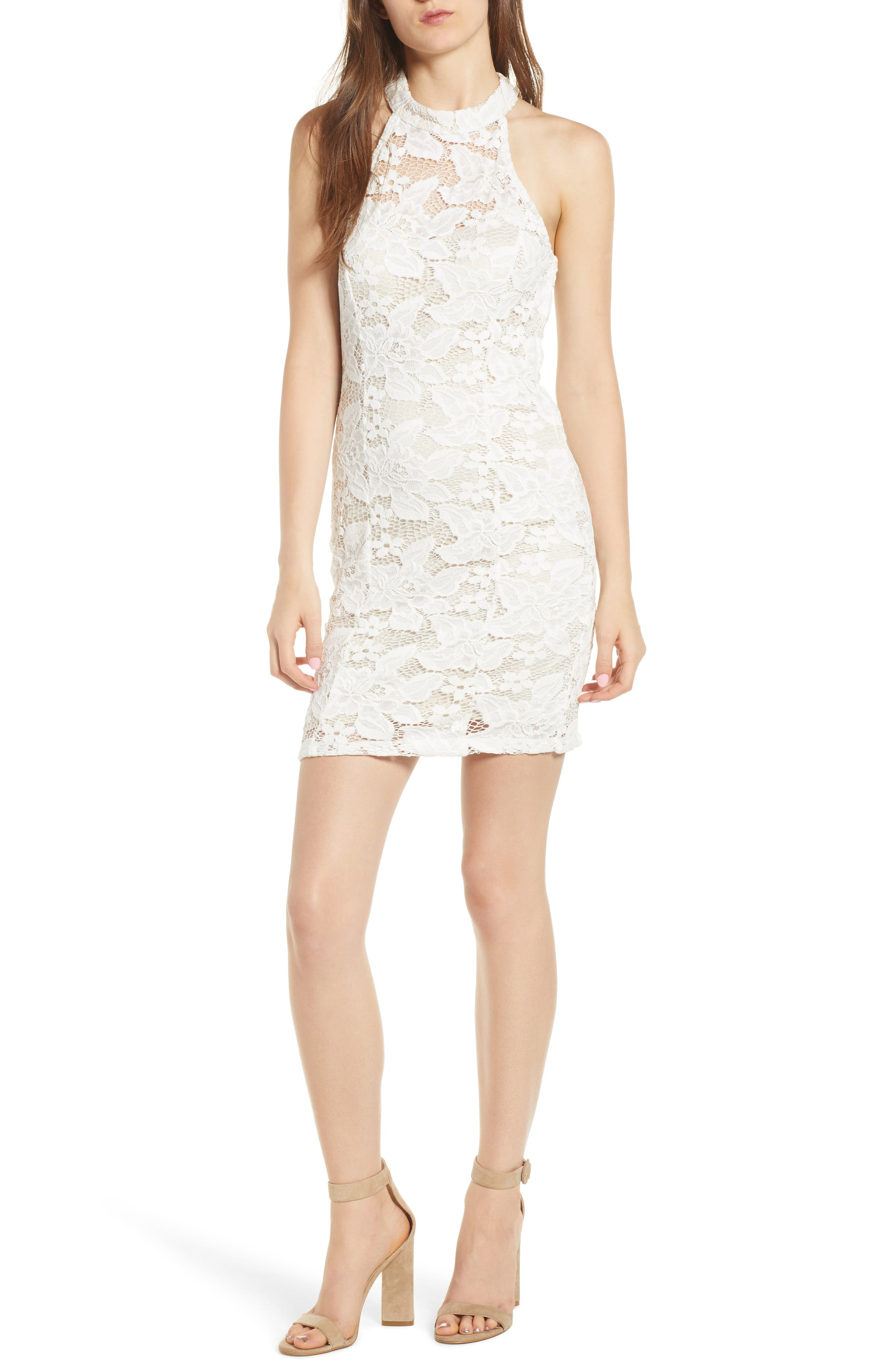 Lace Body-Con Minidress,                         Main,                         color, Ivory/ Nude