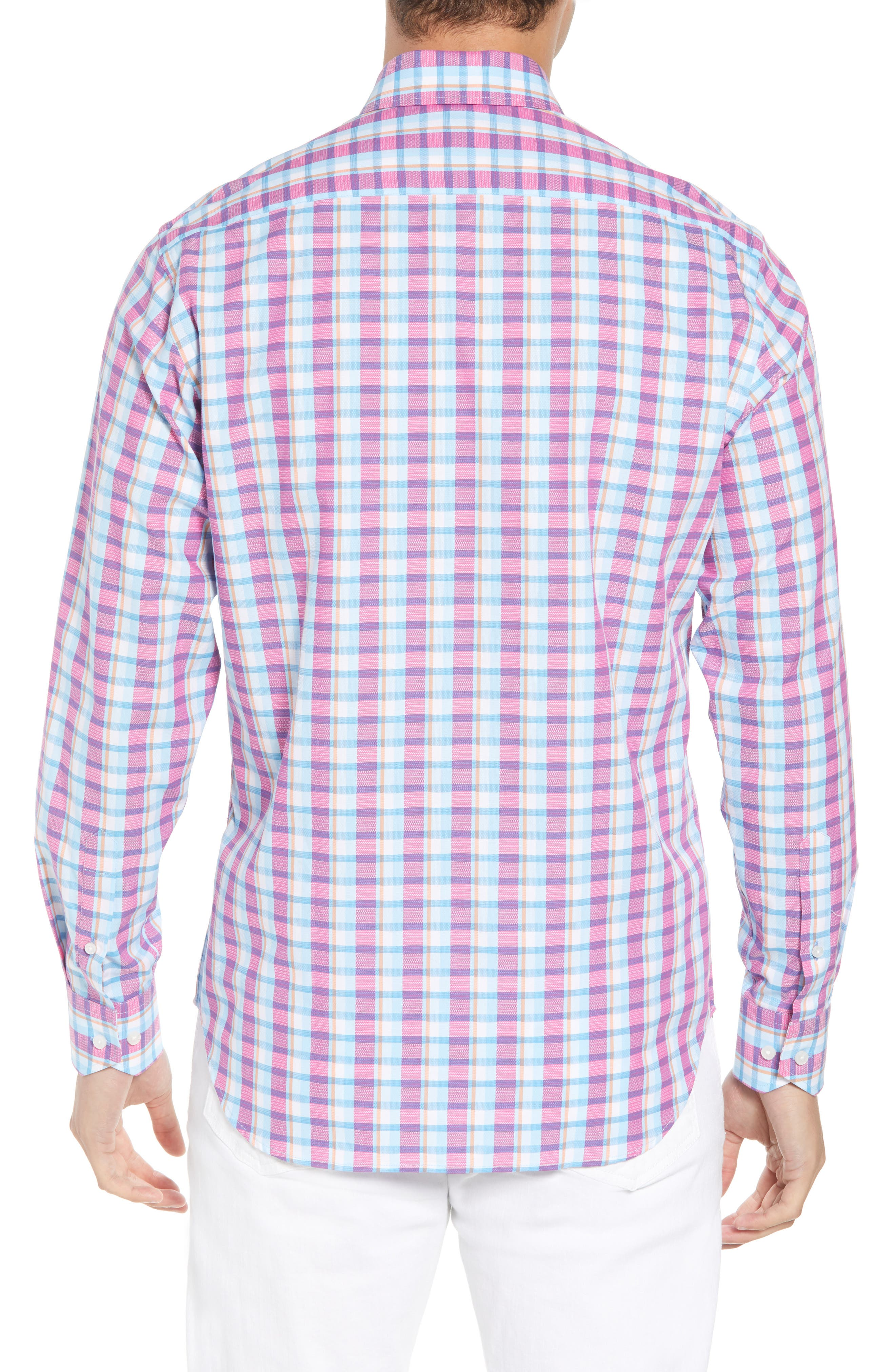 Leith Regular Fit Check Sport Shirt,                             Alternate thumbnail 3, color,                             Turquoise