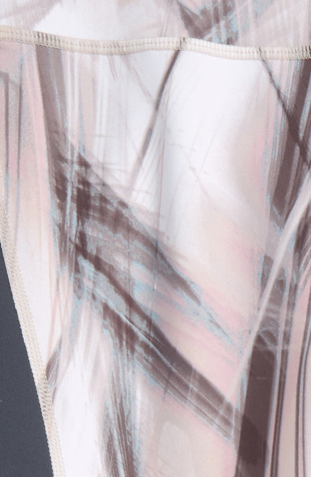 Print High Waist Leggings,                             Alternate thumbnail 2, color,                             White- Grey Tropical Foliage