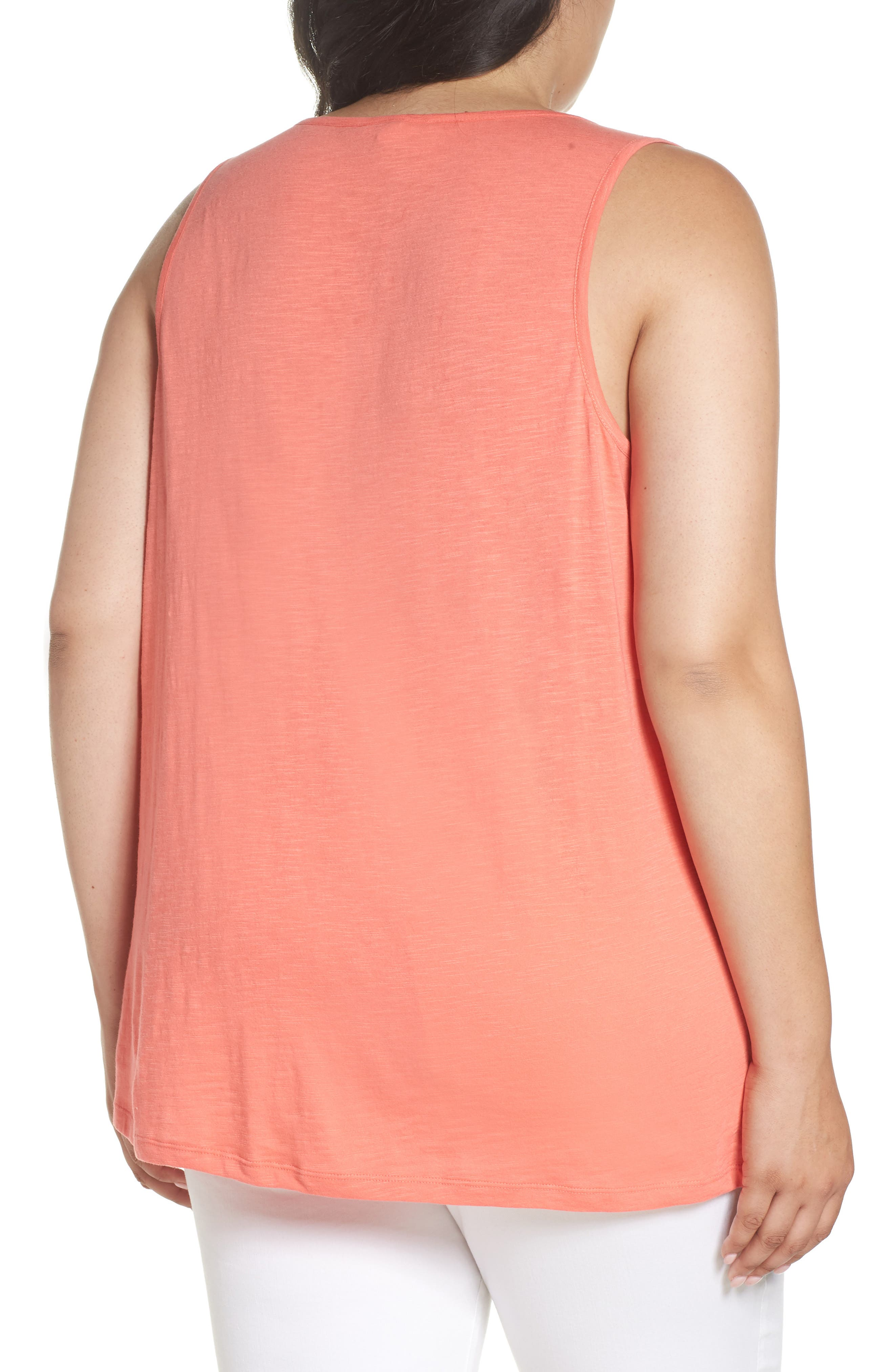 Pintuck Henley Tank,                             Alternate thumbnail 2, color,                             Coral Rose