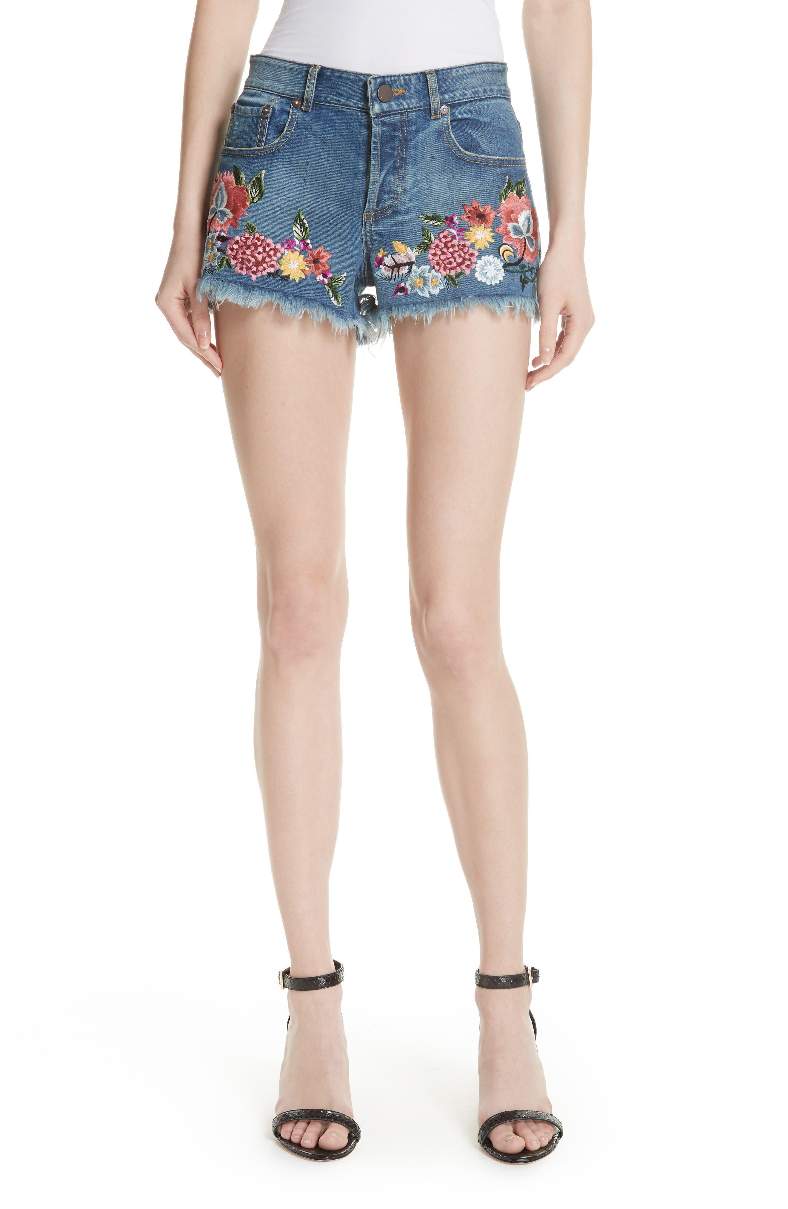 Main Image - AO.LA Embroidered Denim Shorts