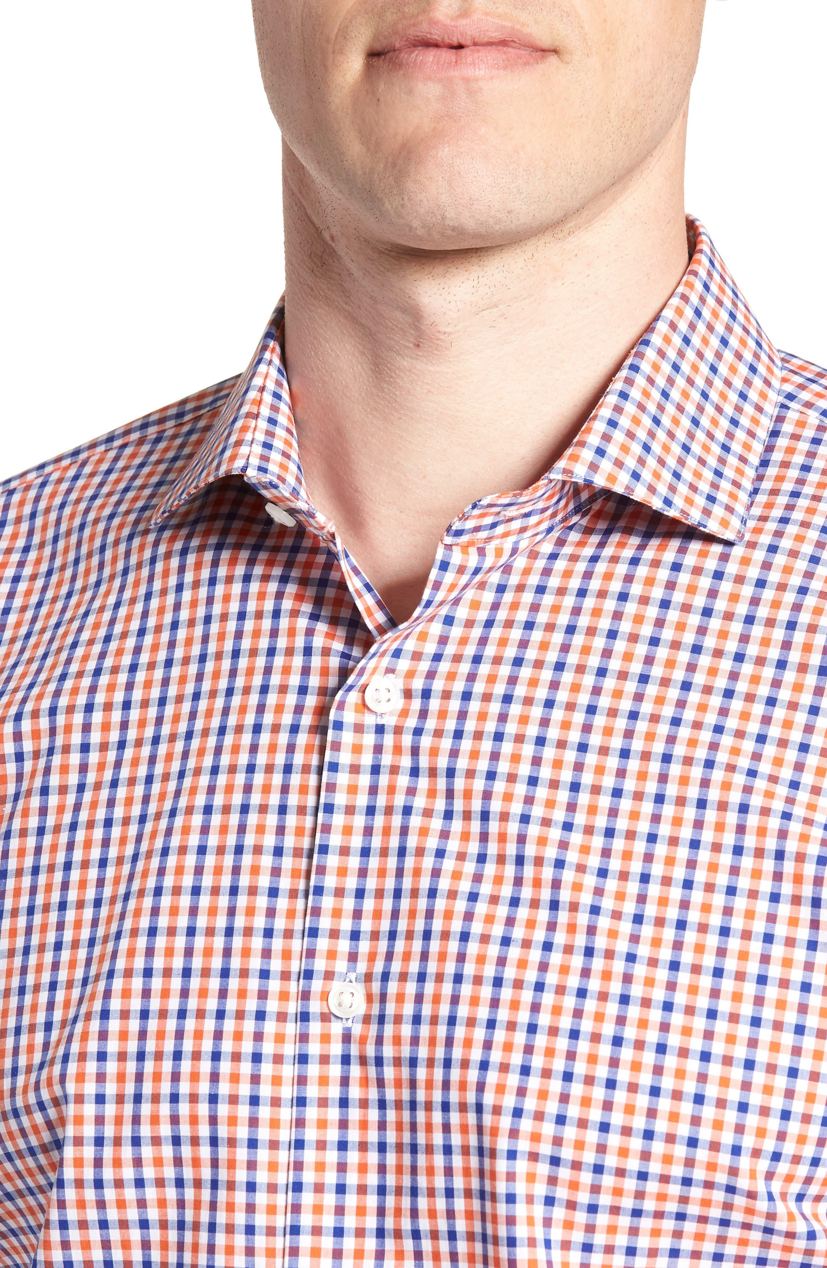 Trim Fit Check Dress Shirt,                             Alternate thumbnail 2, color,                             Orange Rust