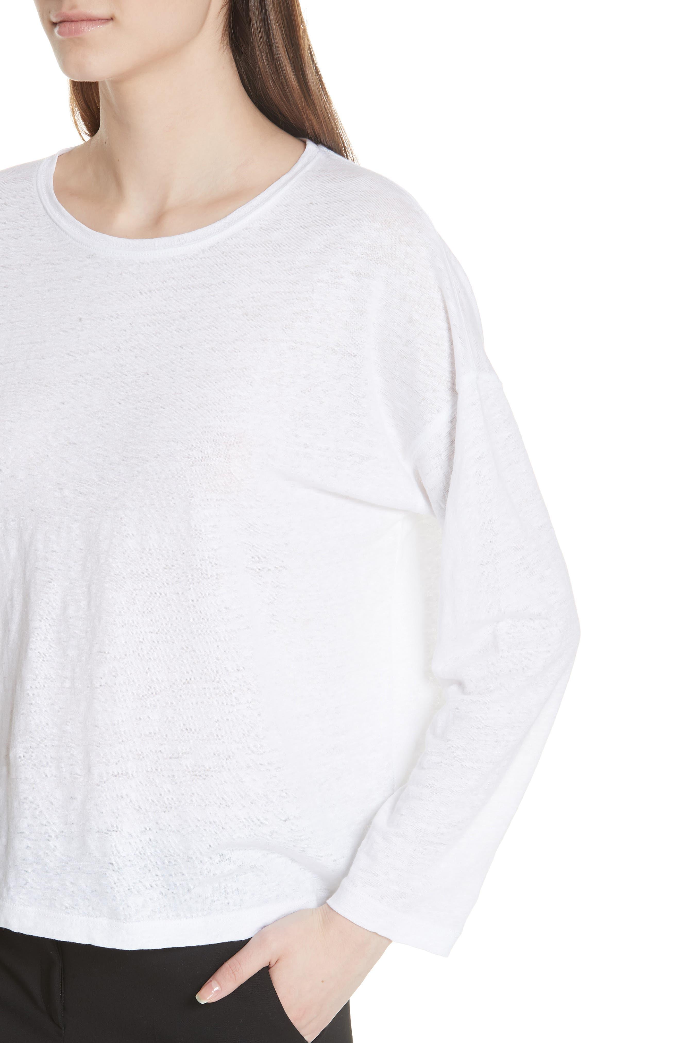 Shrunken Linen Long Sleeve Top,                             Alternate thumbnail 4, color,                             Optic White
