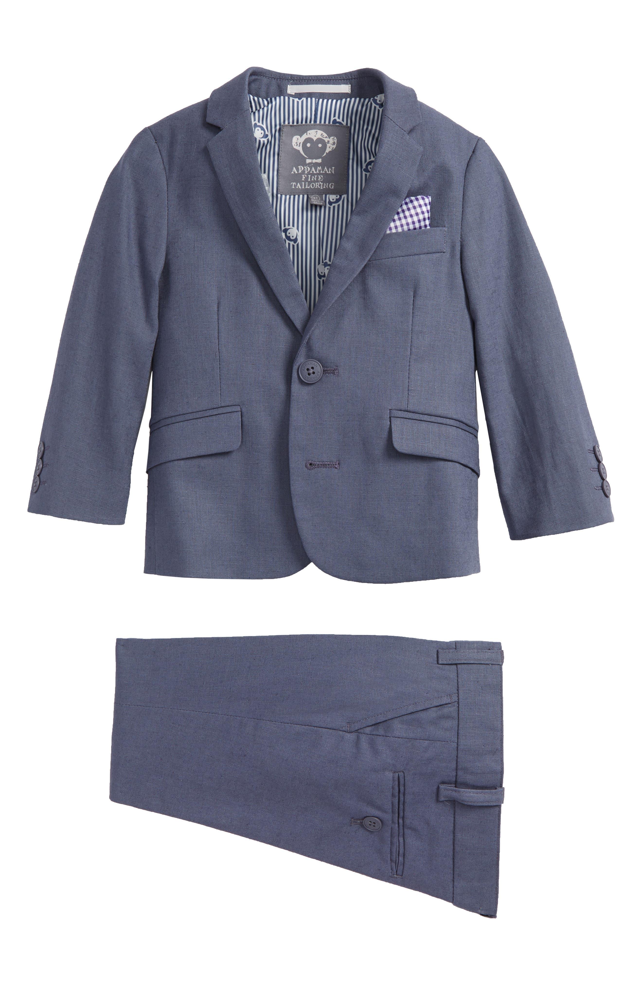 Two-Piece Fashion Linen Suit,                         Main,                         color, Iron