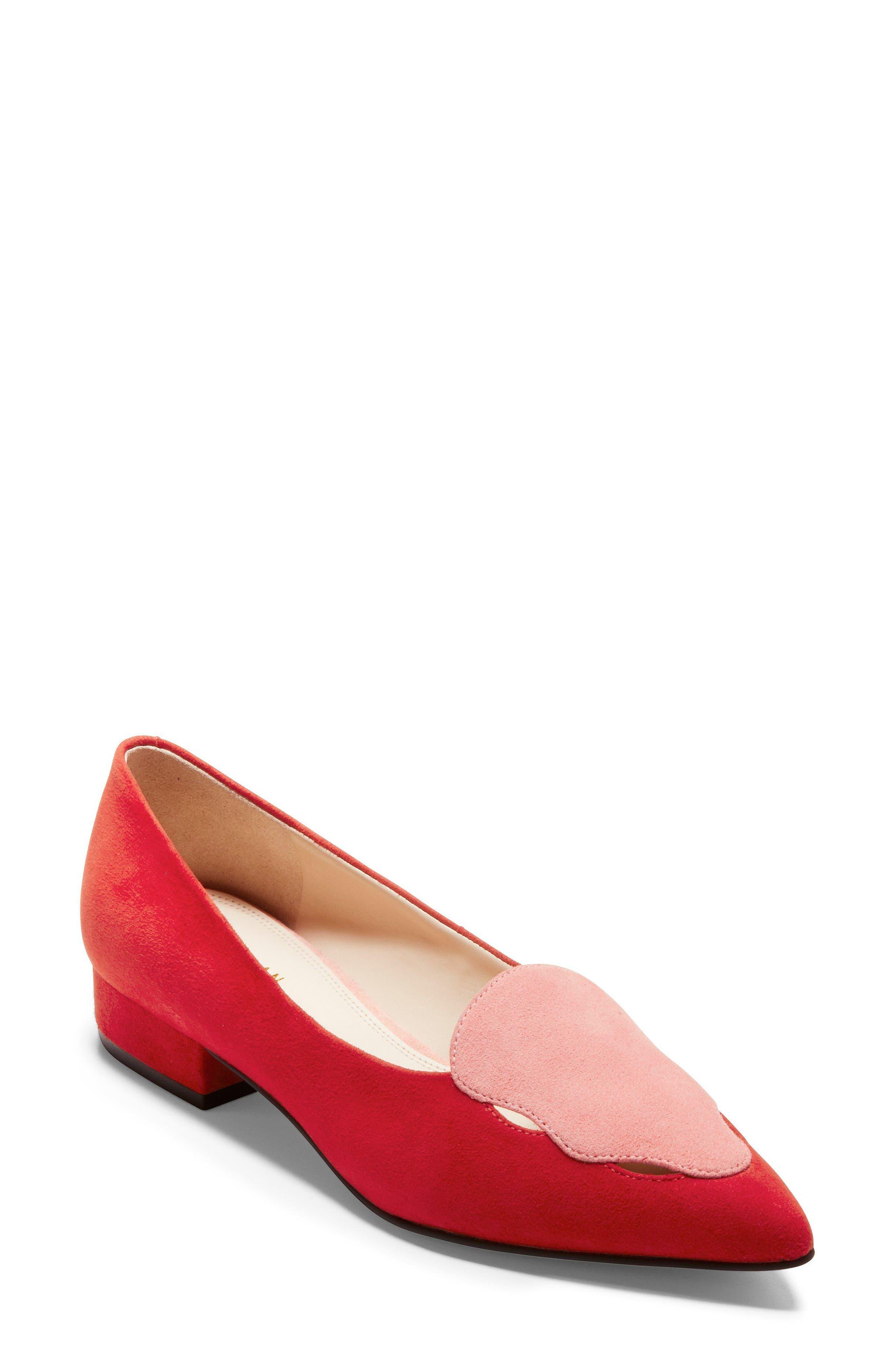 Leah Loafer,                         Main,                         color, Aura Orange/ Coral Suede